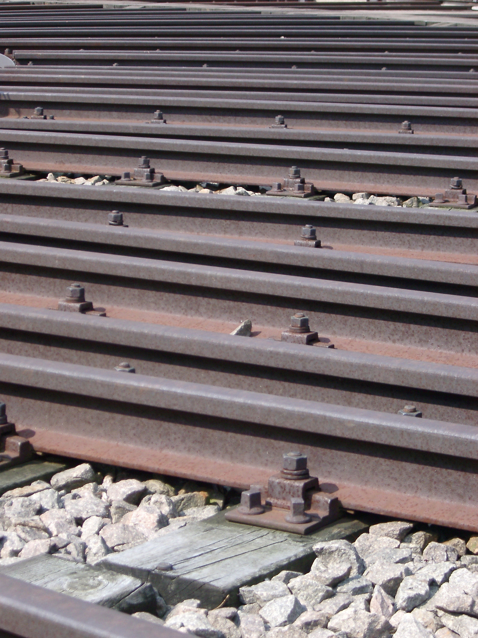 Close Up of Many Parallel Rail Lines in Rail Yard