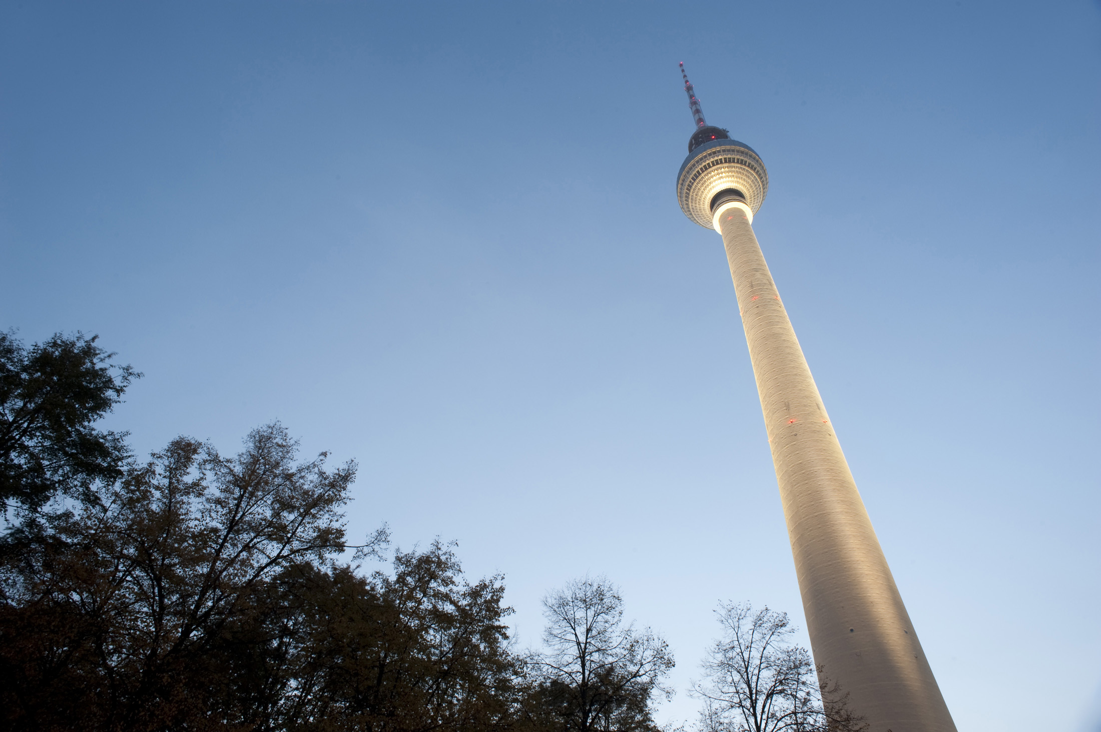 the berlin tv tower, low angle view at twilight