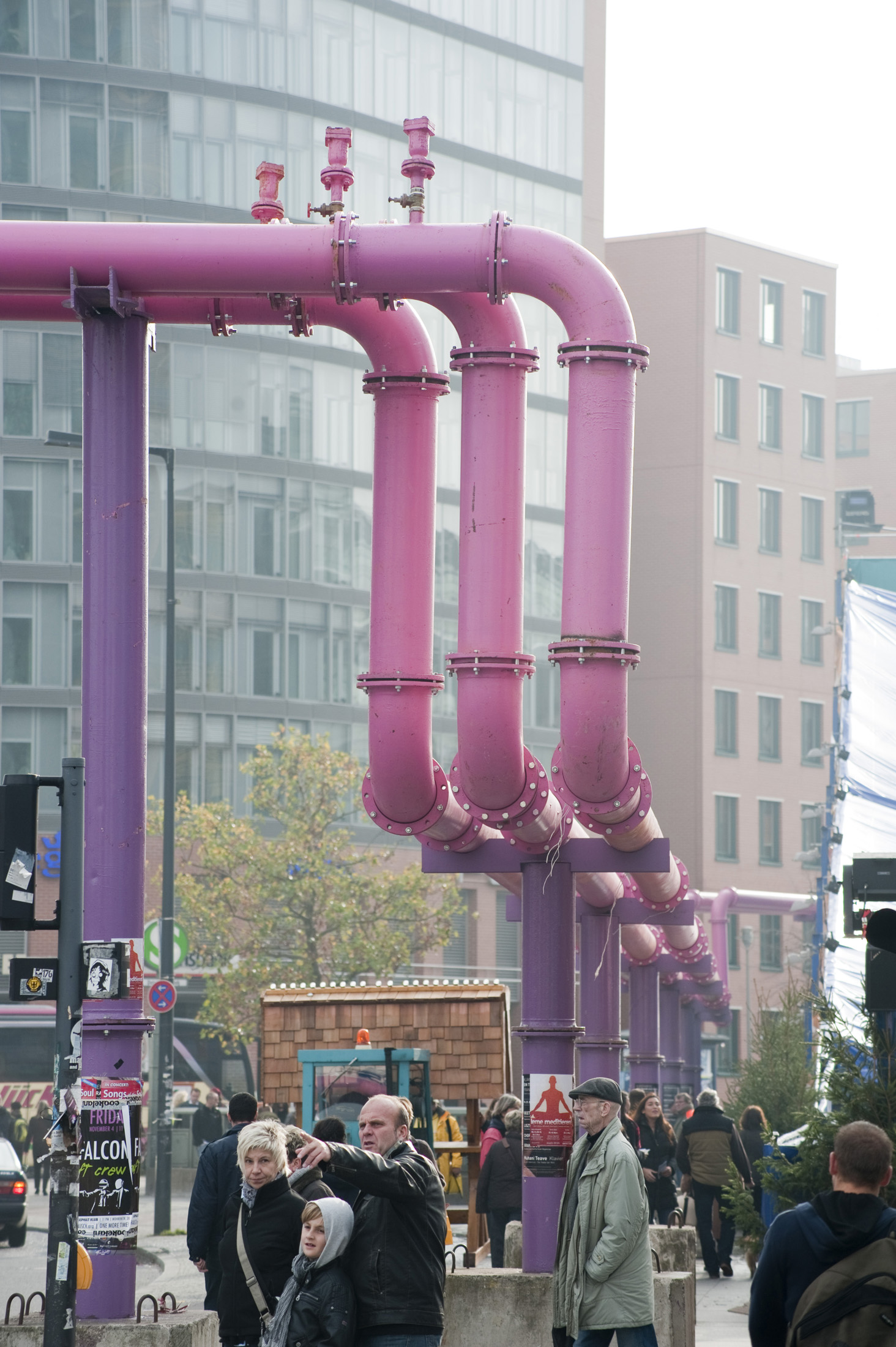 pink water pipes pump water from construction sites around berlin