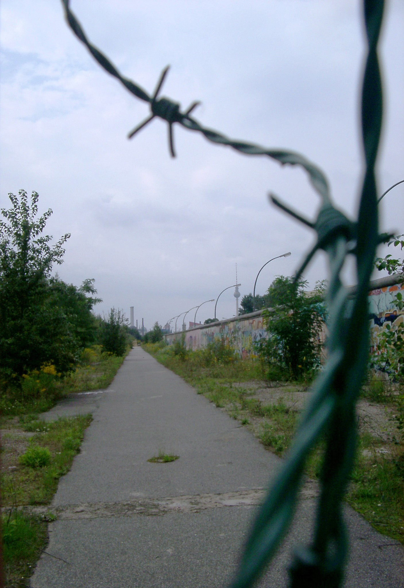 Barbed Wire and Pathway Along Berlin Wall, Germany