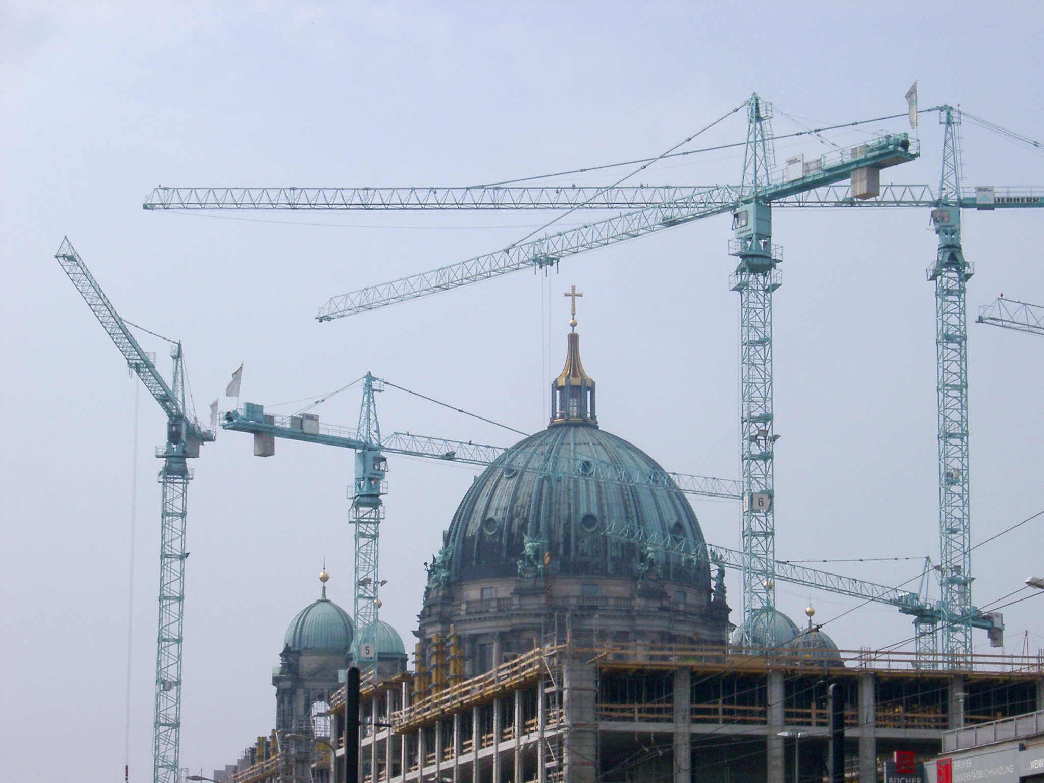 Berlin Cathedral Dome with Construction Cranes, Berlin, Germany