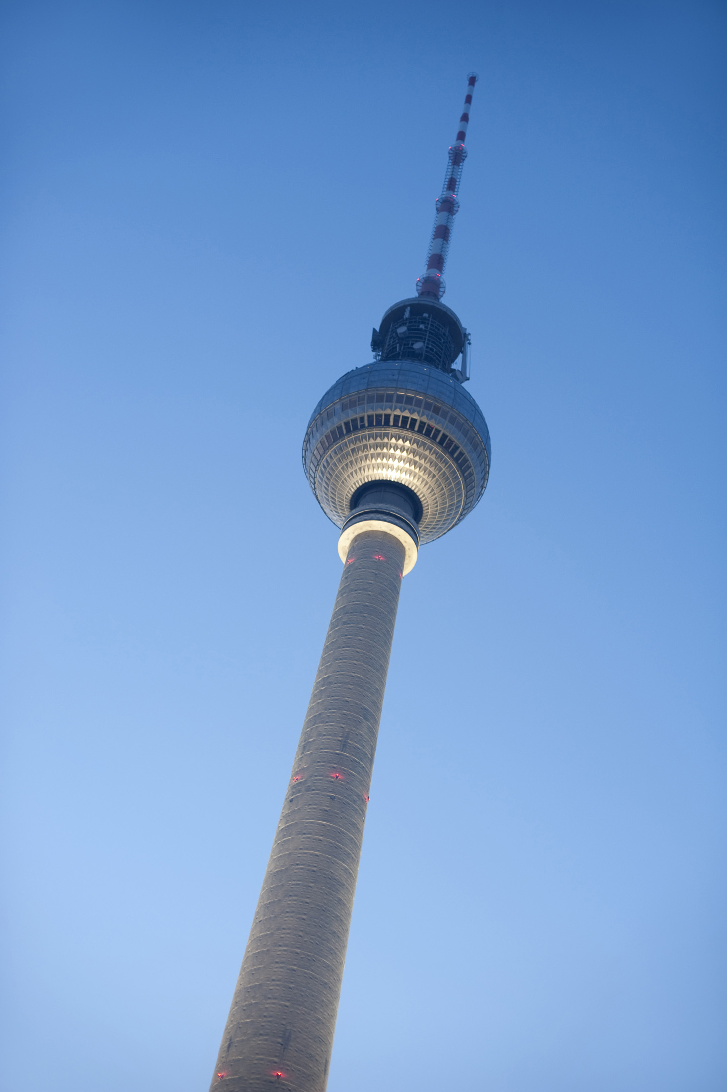 looking up at the berlin tv tower or fernsehturm