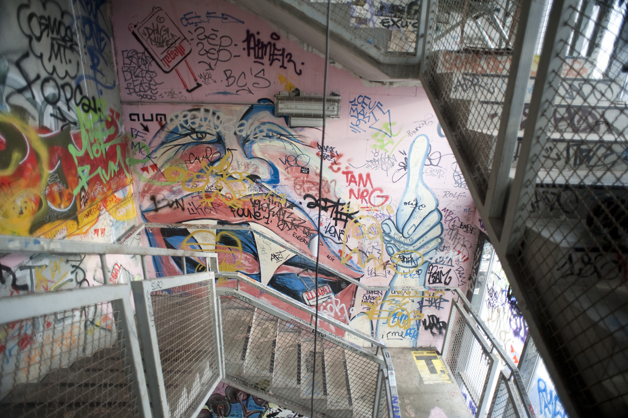 graffitied staircase in the berlin art squat, Kunsthaus Tacheles