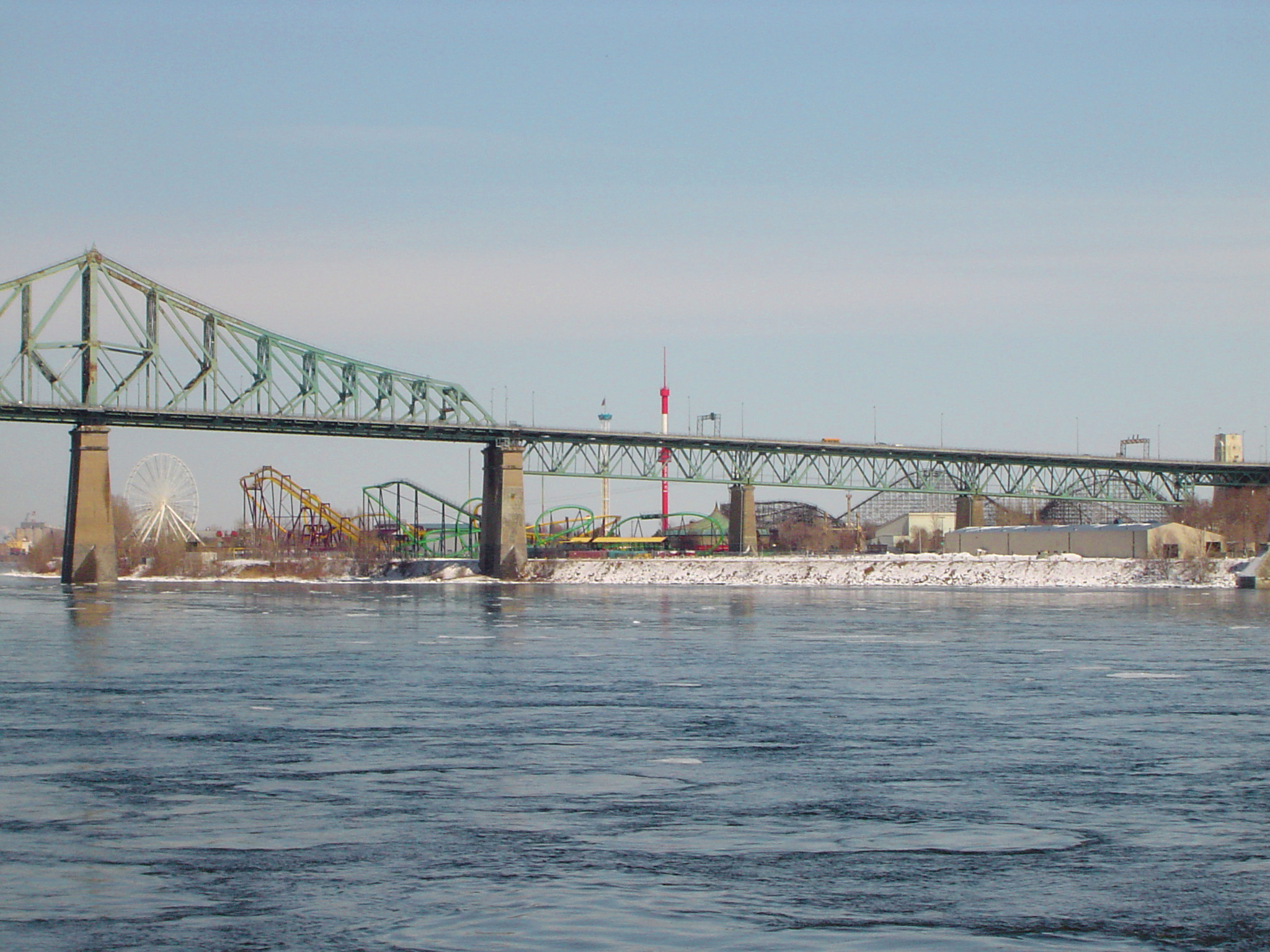 La Ronde Theme Park and Bridge over St Lawrence River in Montreal, Quebec, Canada
