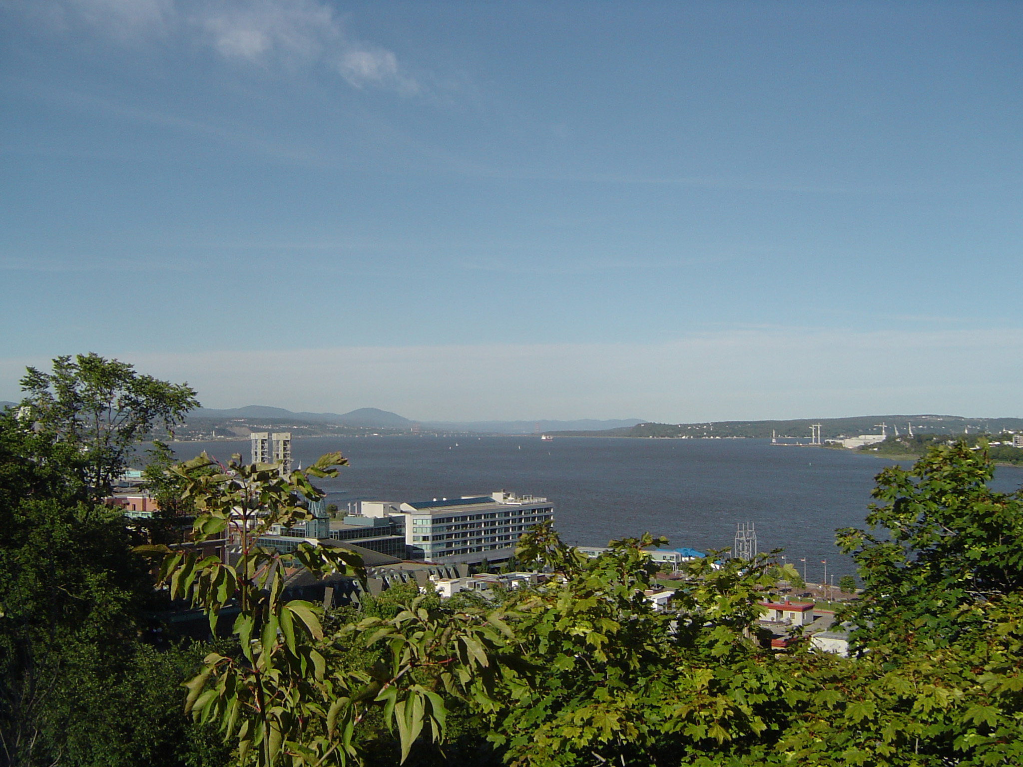 Overview of Quebec City and St Lawrence River, Quebec, Canada