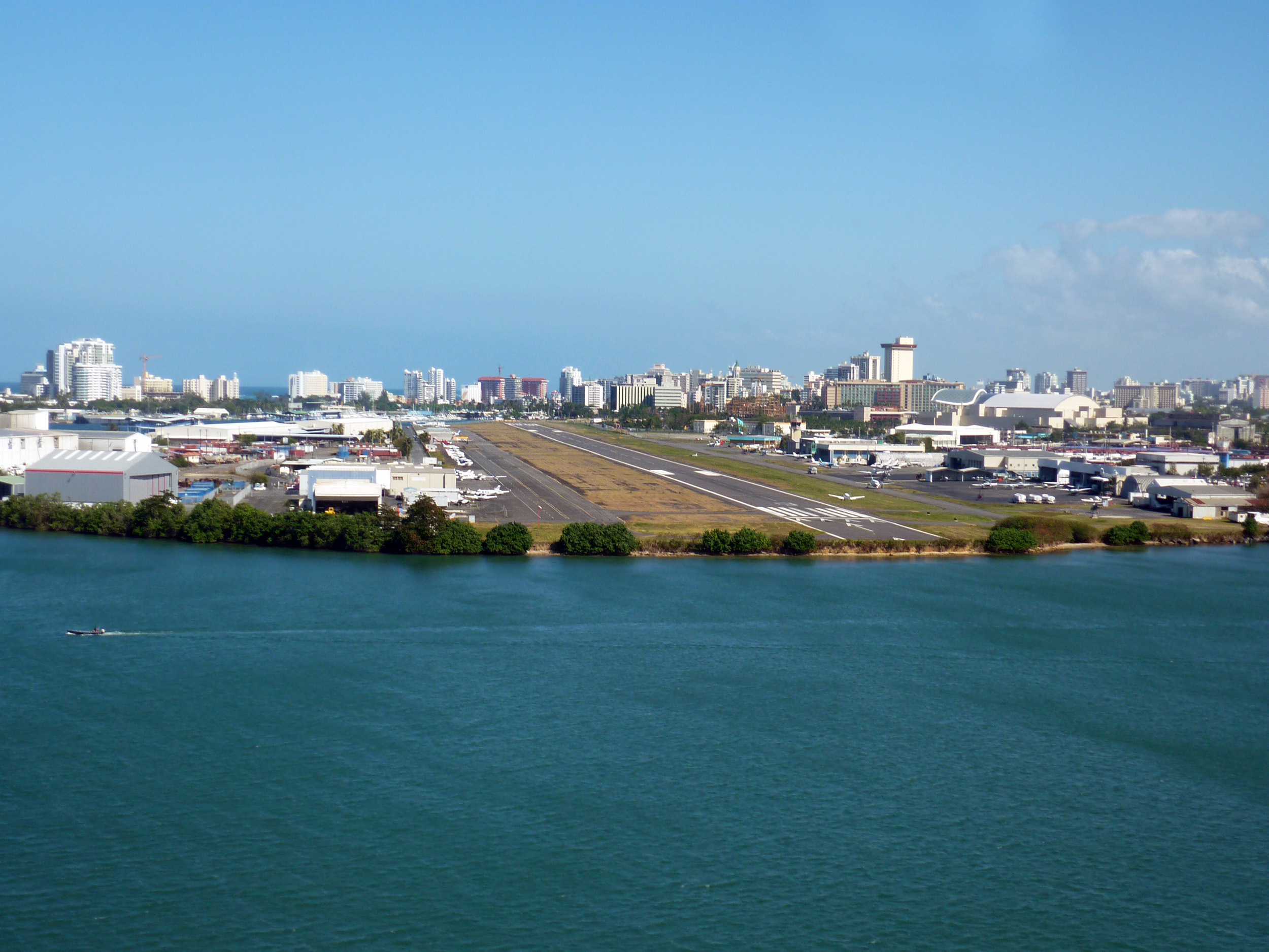 looking down the runway of san juan airport, puerto rico