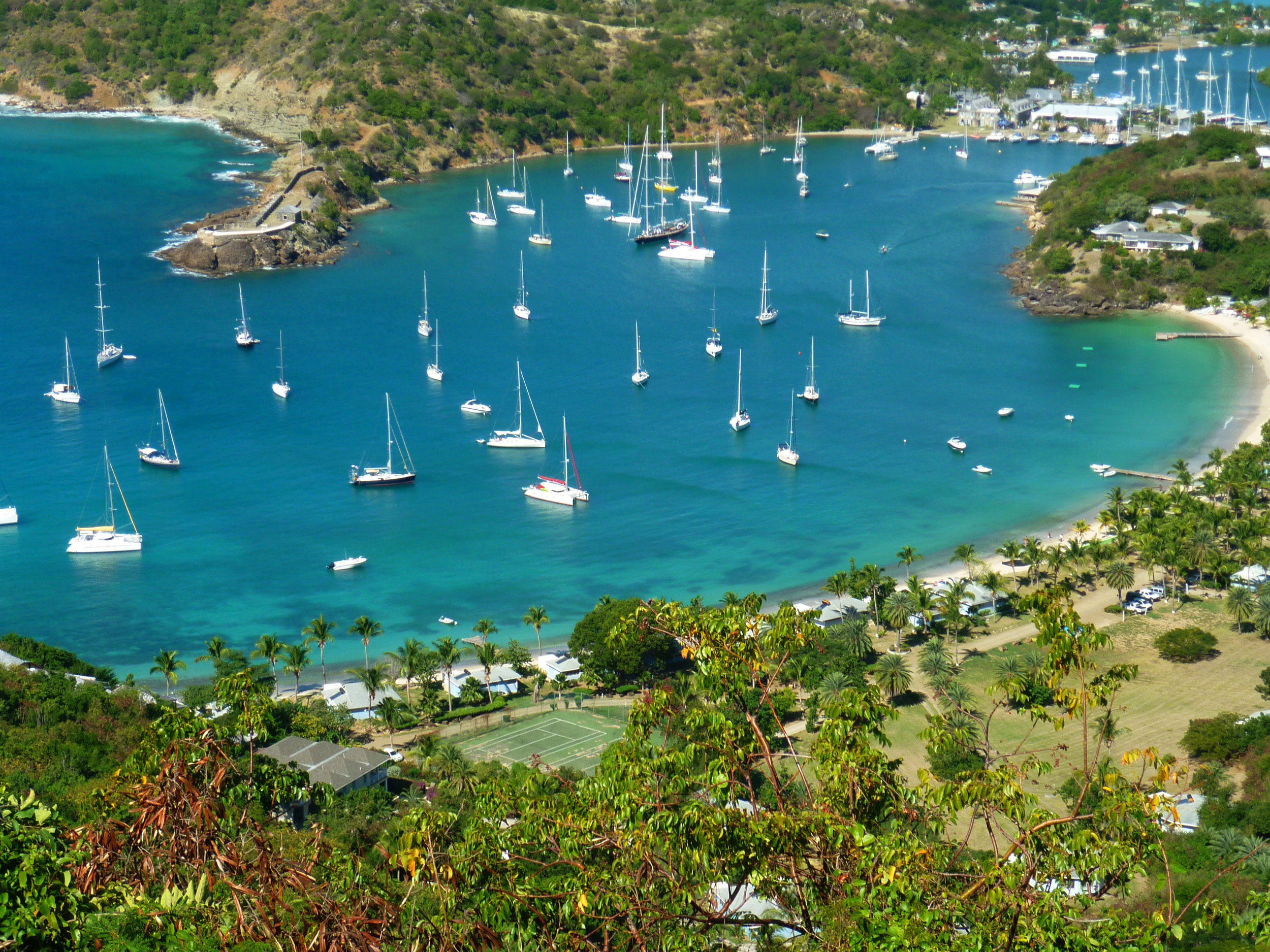 looking down towards nelsons dockyard on the island of antigua