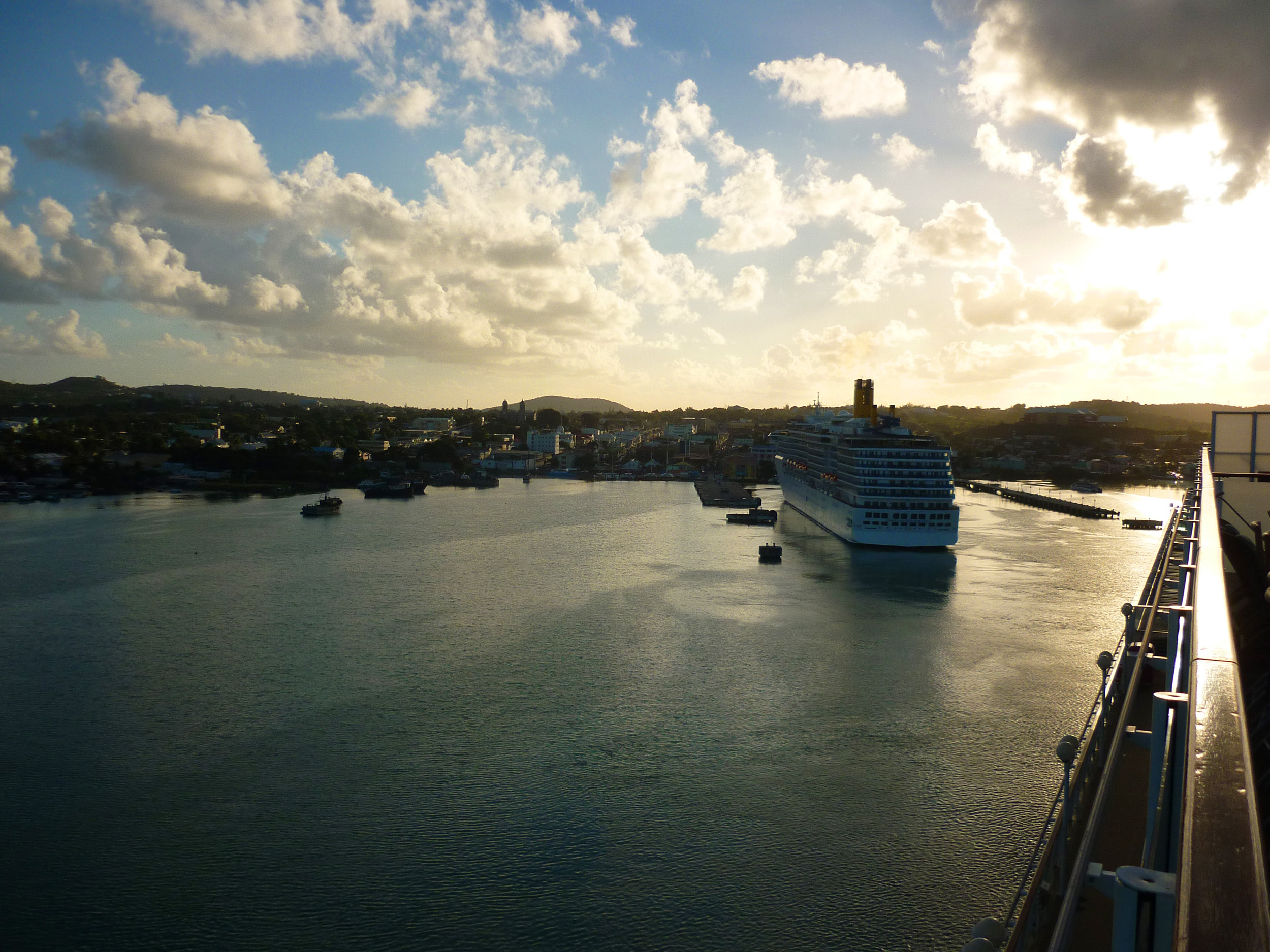 arriving in antigua on a cruise ship