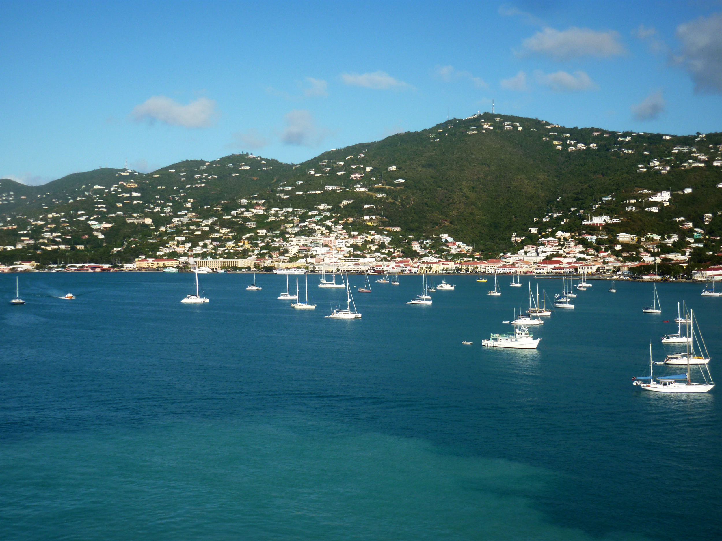 a view of charlotte amalie, capital of Saitin Thomas, from the water