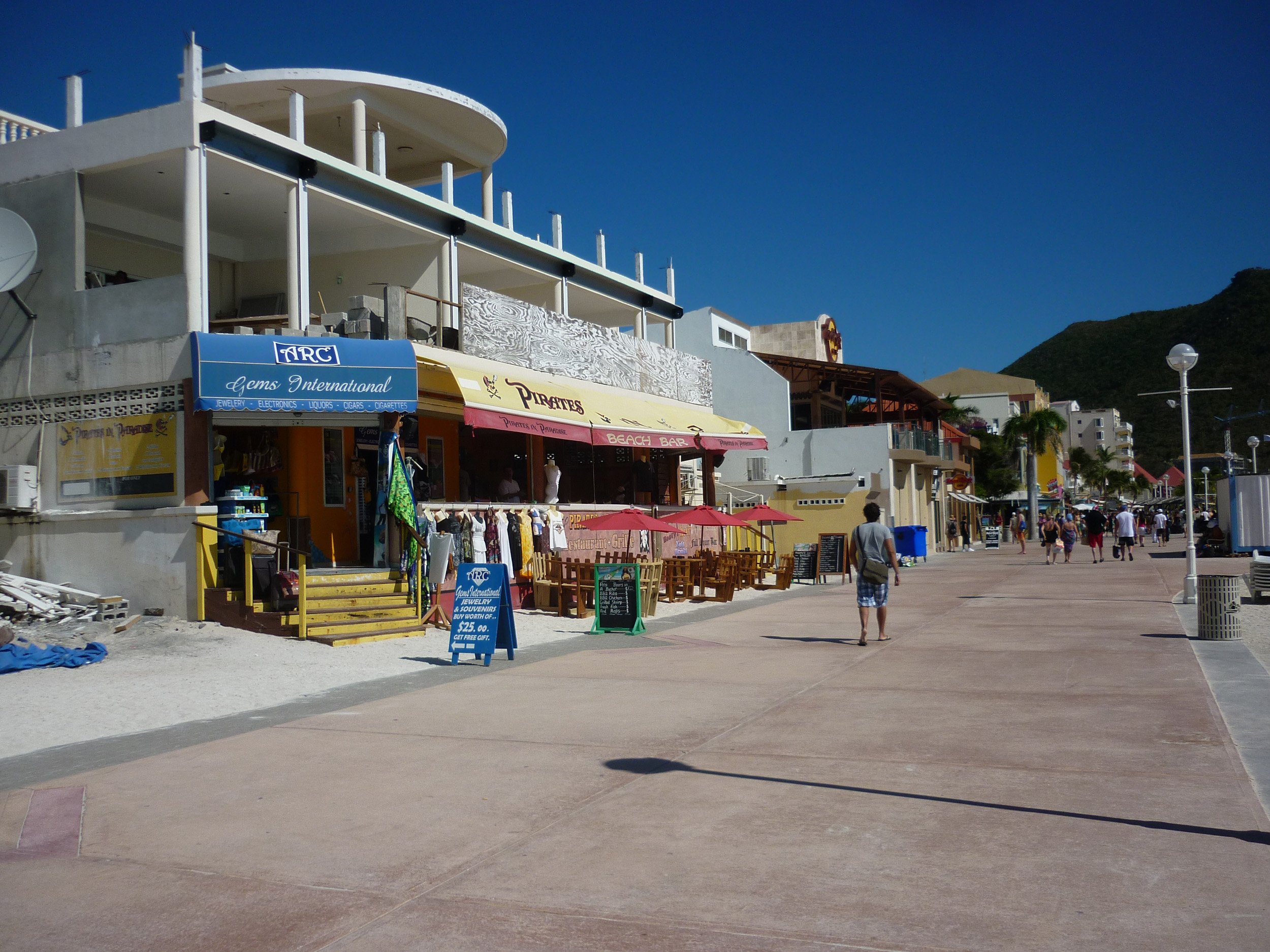 a row of shops in on the caribbean island of st martin