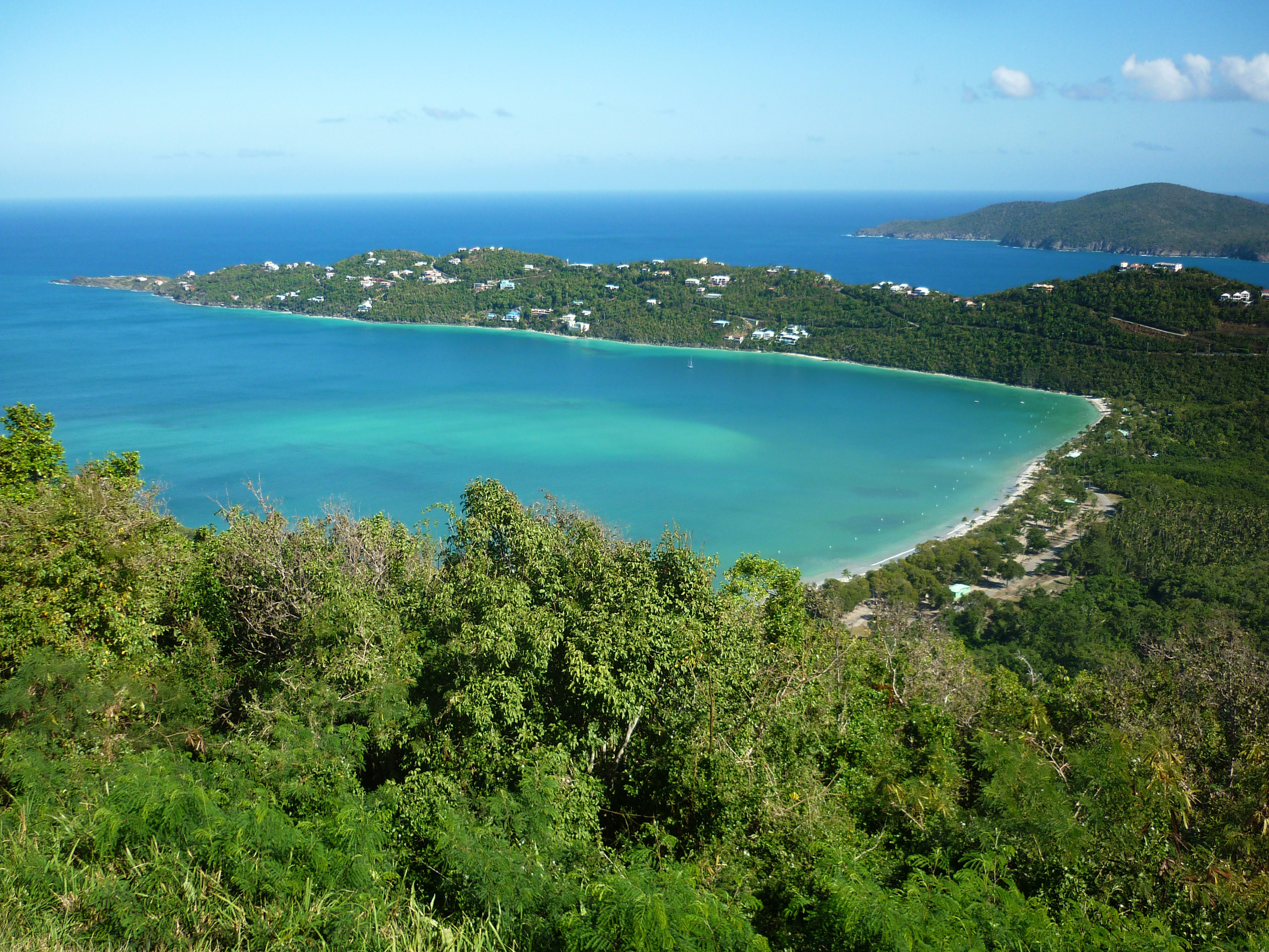lookng down on a beautiful tropical bay on the island of st thomas