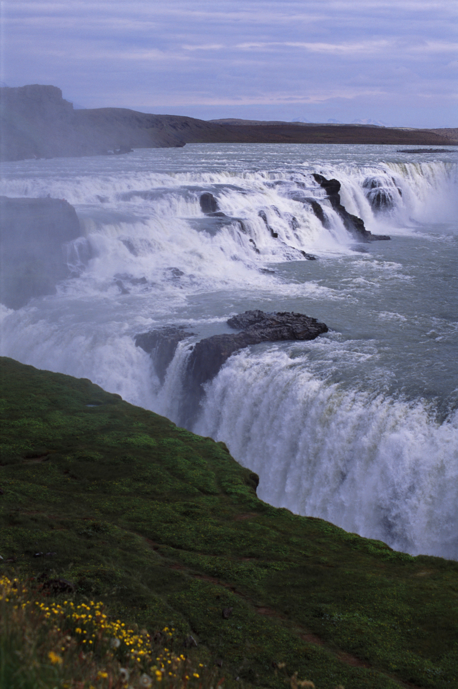 Overview of Rushing Water of Hvita River over Gullfoss Falls in Iceland