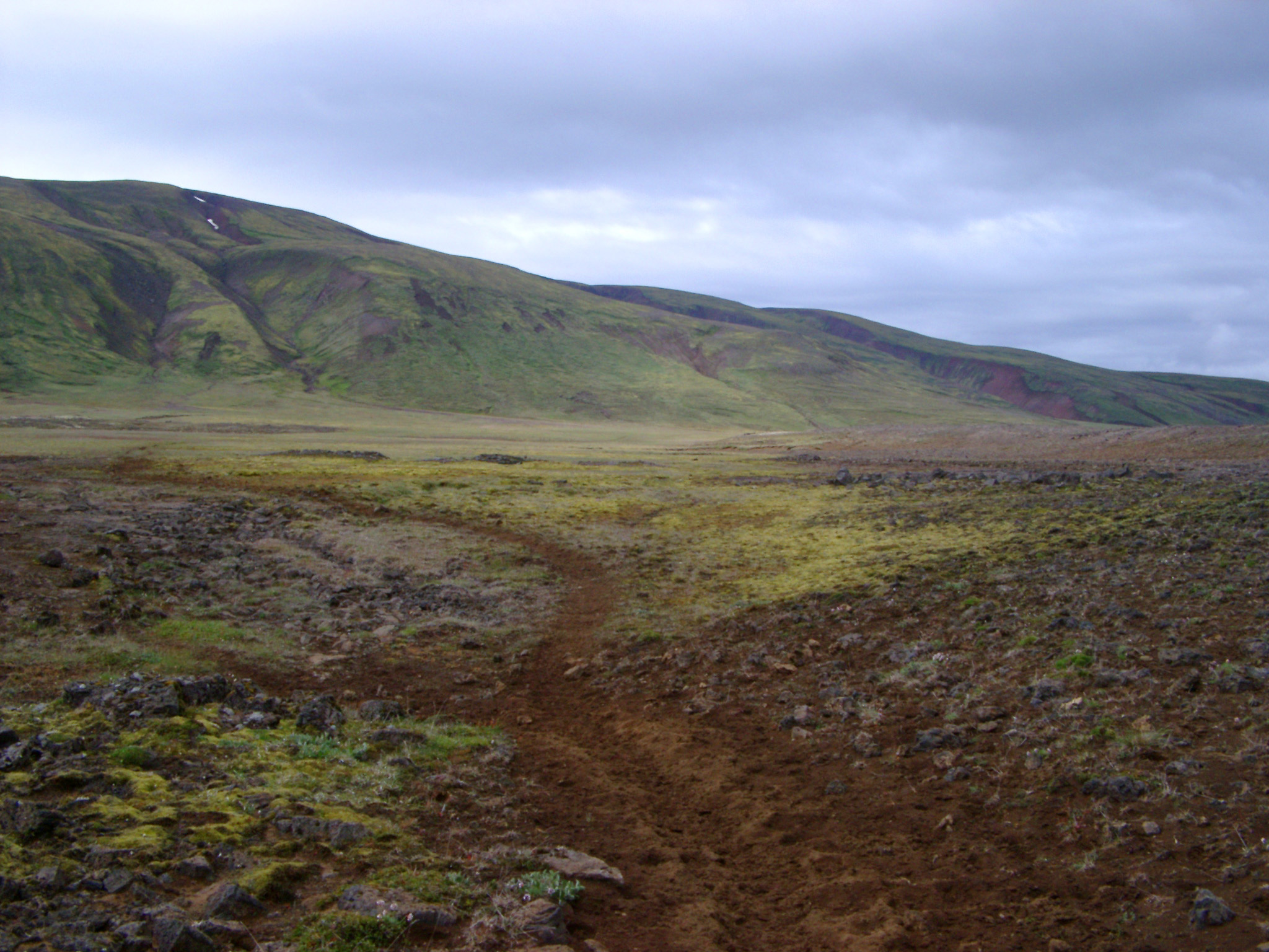 Remote barren landscape in Iceland with path leading through the volcanic earth across the lowland plains towards a mountain range