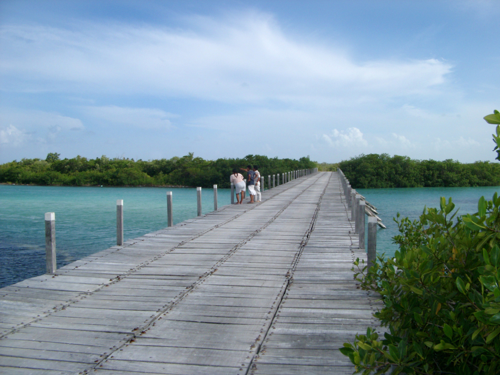 Wooden road bridge in Mexico composed of individual planks crossing a stretch of turquoise blue water with tourists or pedestrians standing in the middle