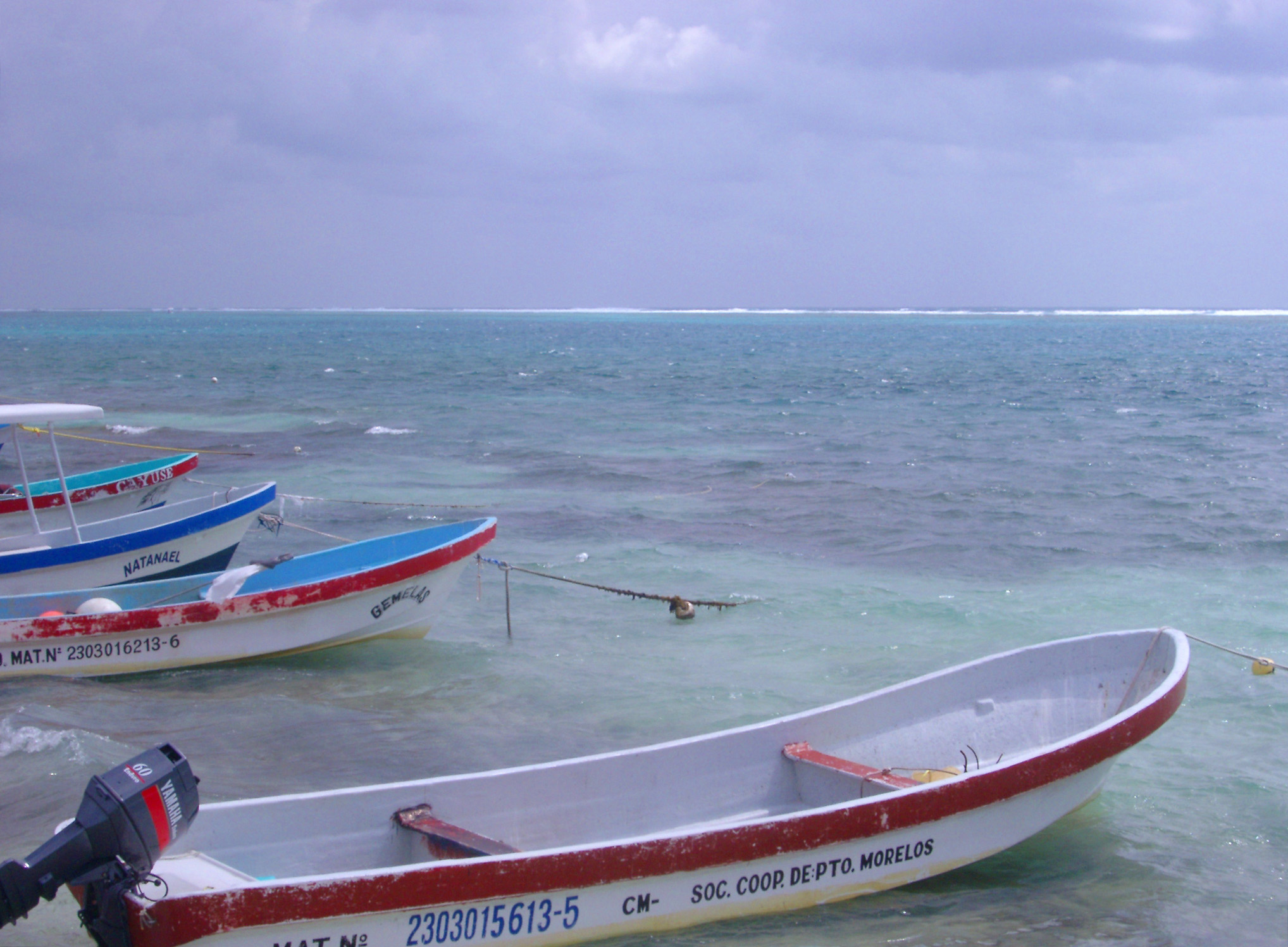 Line of small motorboats with outboard motors moored in a line along the shore pointing out to sea at a Mexican port