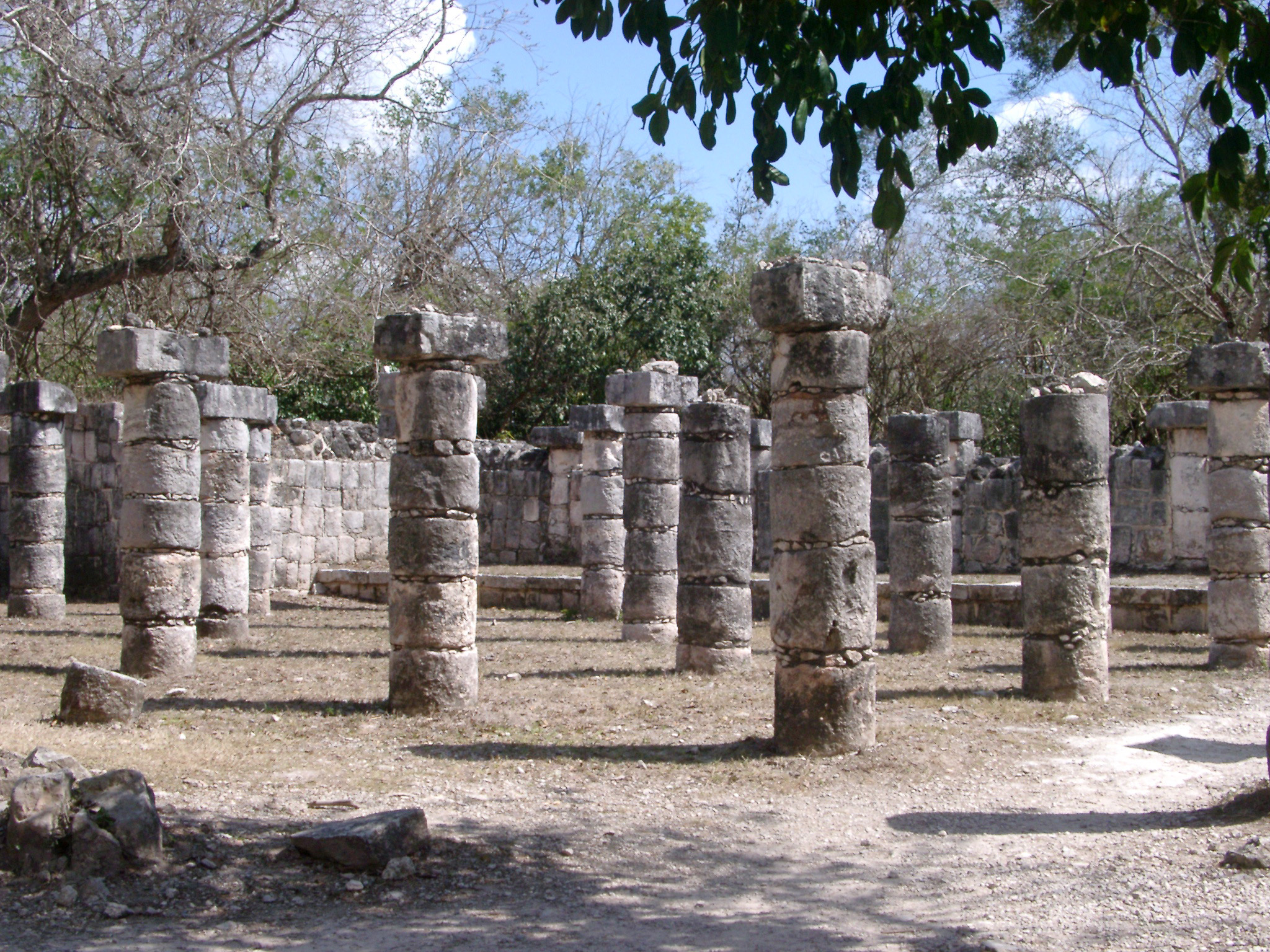 Ancient stone coloumns, remnants of a building in Chitzen Itza Mayan ruins, Yucatan Province, Mexico