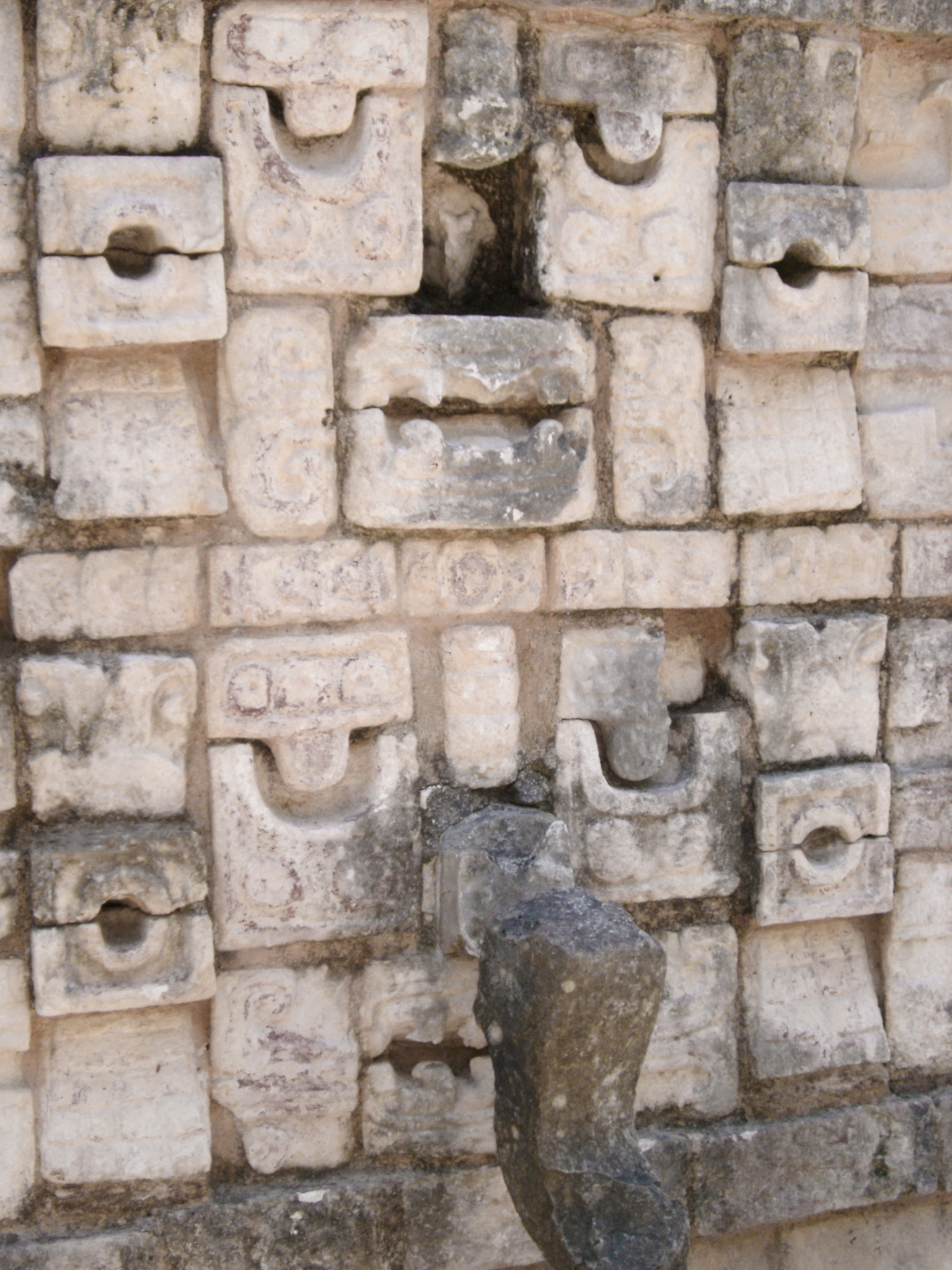 Detail of stonework and carvings at Chitzen Itza, an important Mayan archaeological site on the Yucatan Peninsula, Mexico