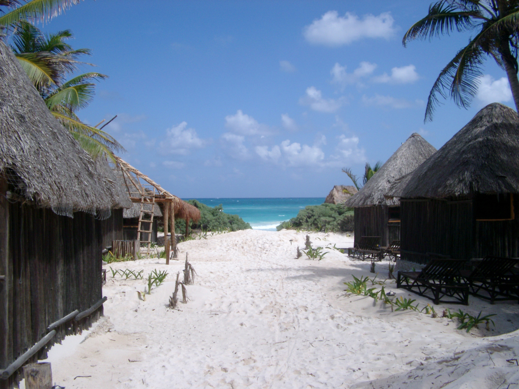 Picturesque view of traditional quaint thatched huts in a Mexican resort with a path across golden beach sand leading past tropical palm trees to the blue ocean
