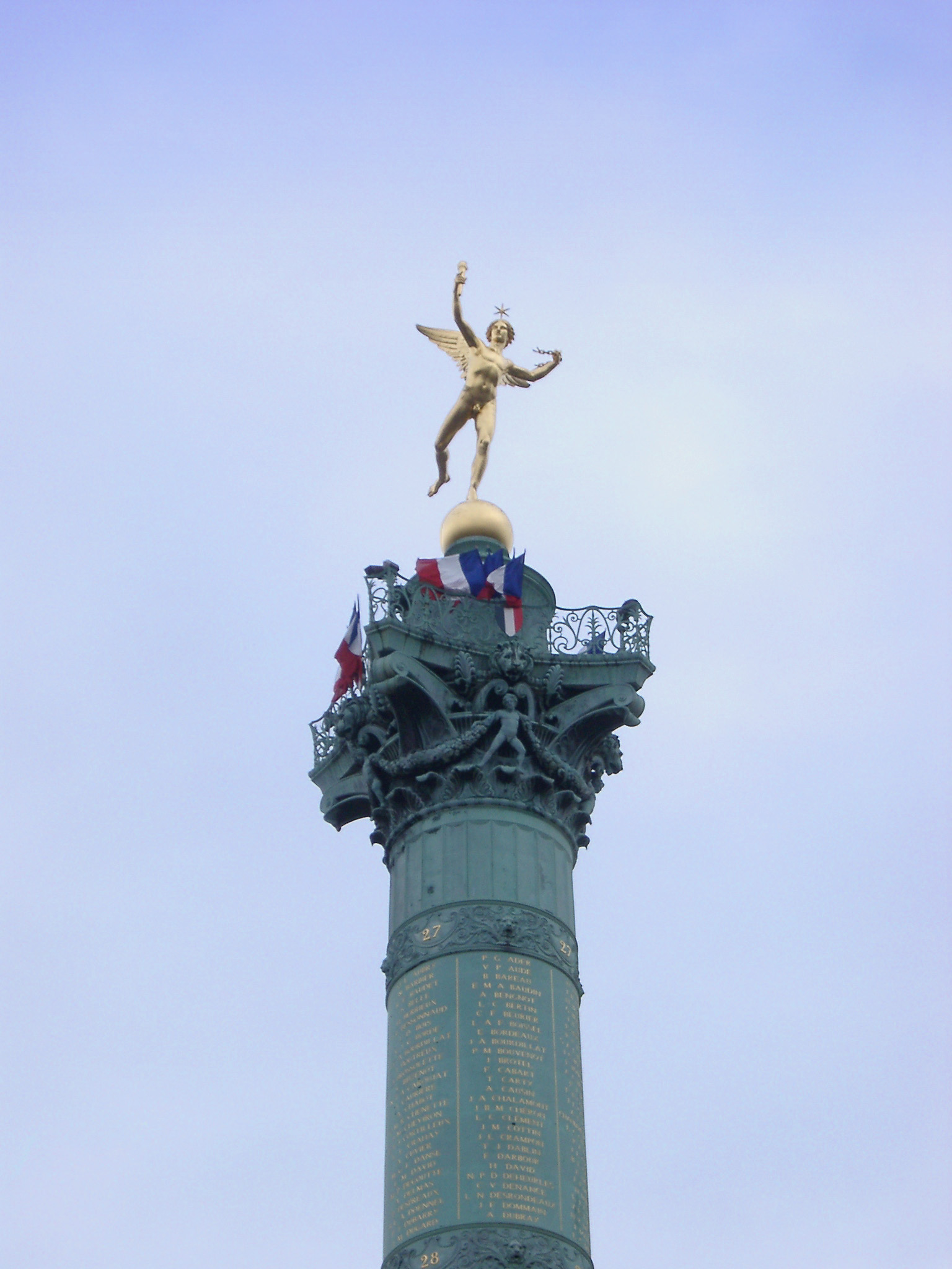 Vintage High Monument of Place de la Bastille. Isolated on Light Blue Sky Background.