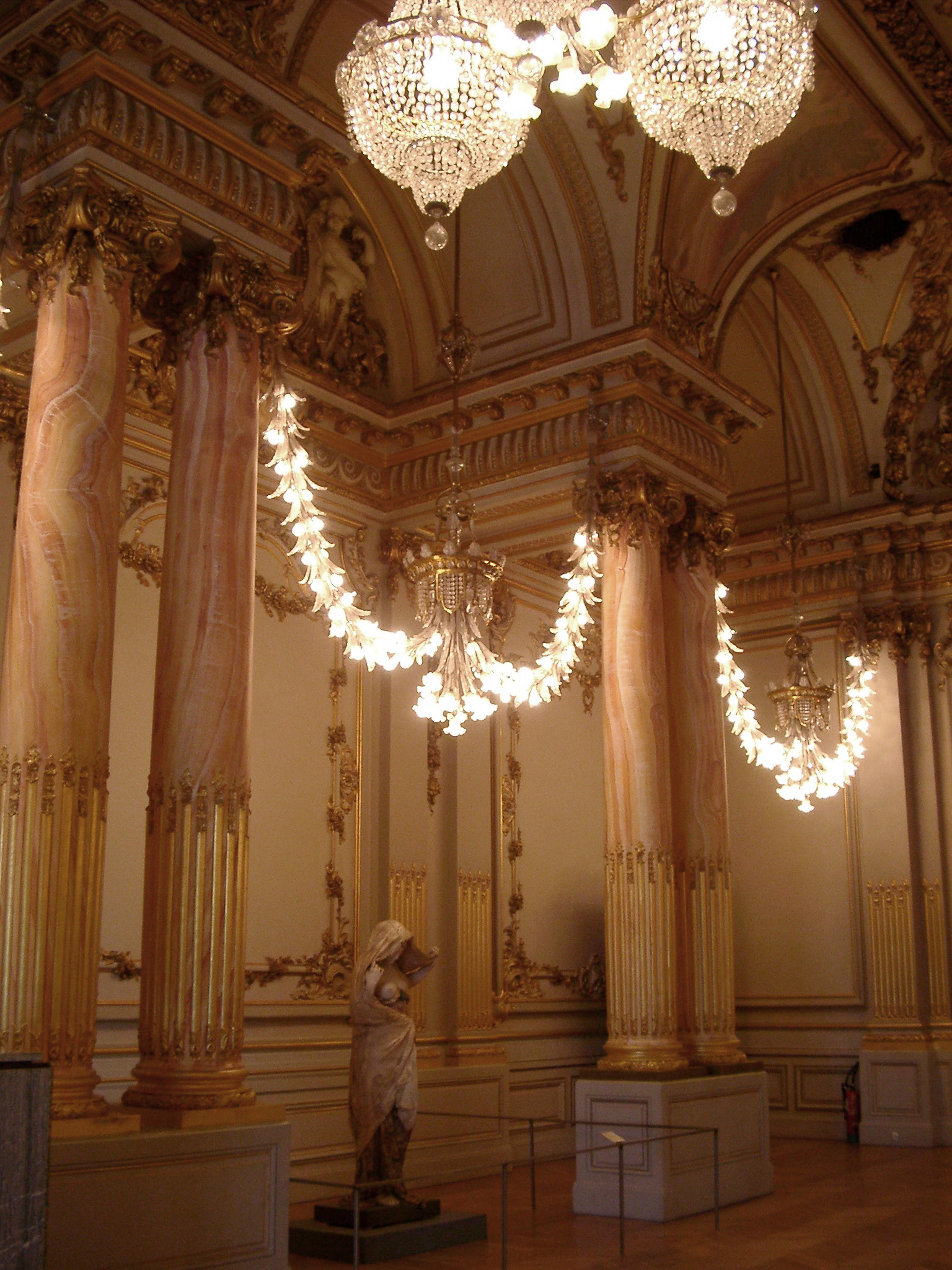 Old Vintage Elegant Architectural Building Interior Design with Chandeliers.