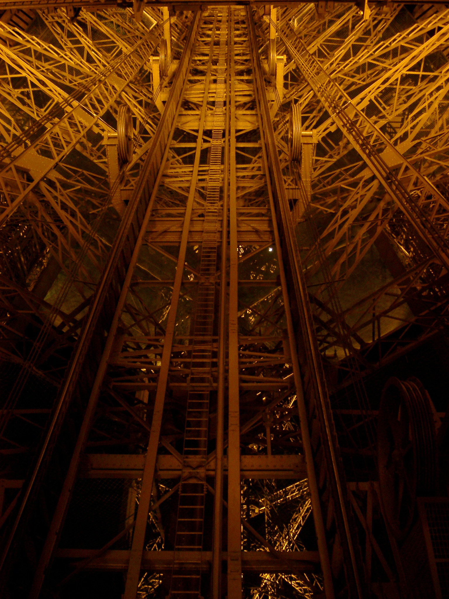 Famous Eiffel Tower Sculpture in Worms Eye View. The Most- Visited Paid Monument of the World. Captured at Night Time.