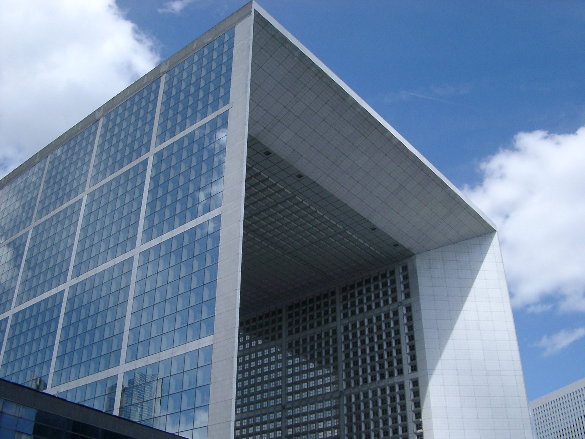 Looking Up at Grande Arche de la Defense Monument in Paris, France