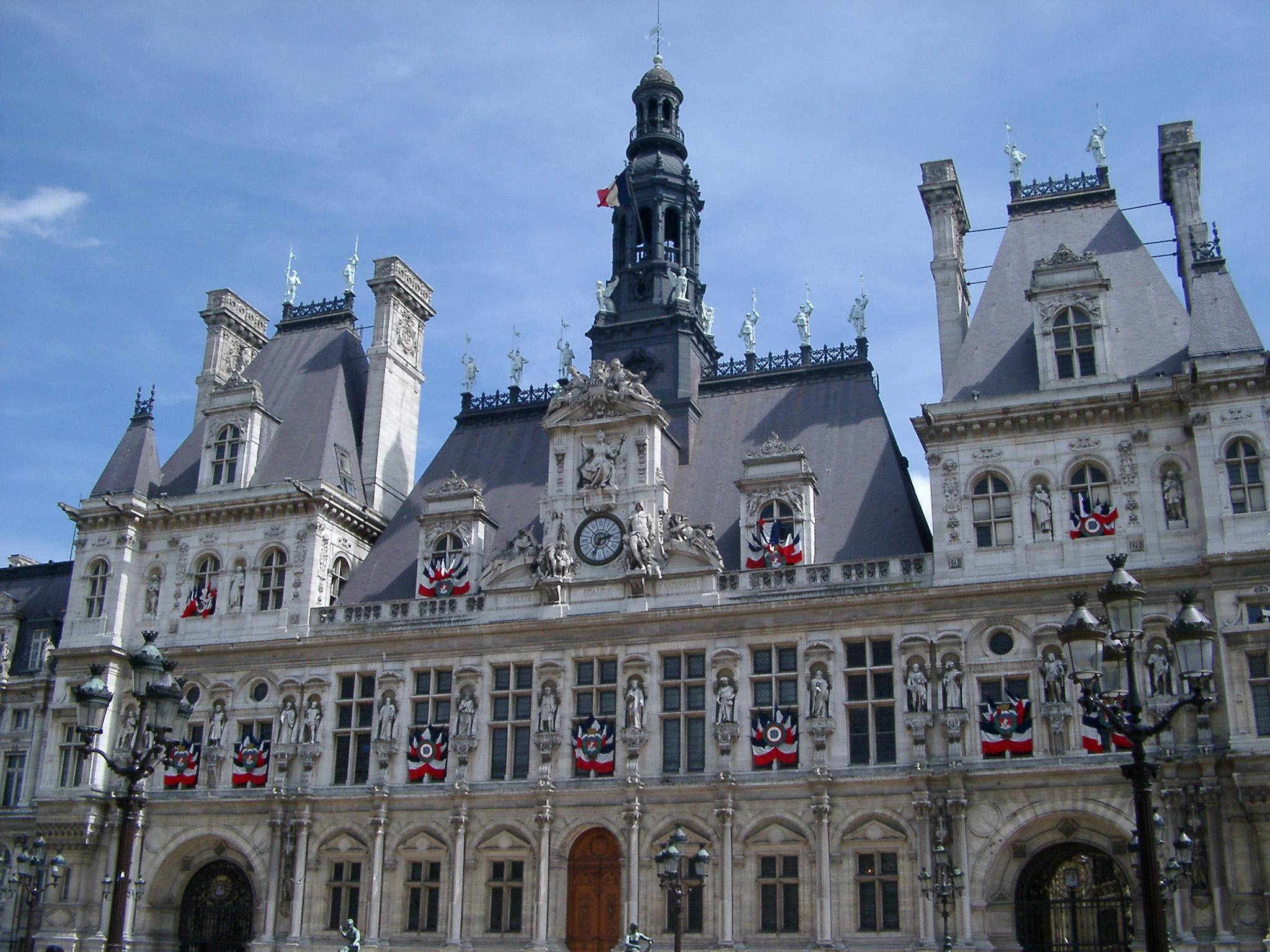 Exterior Of Hotel De Ville Administrative Building In Paris France