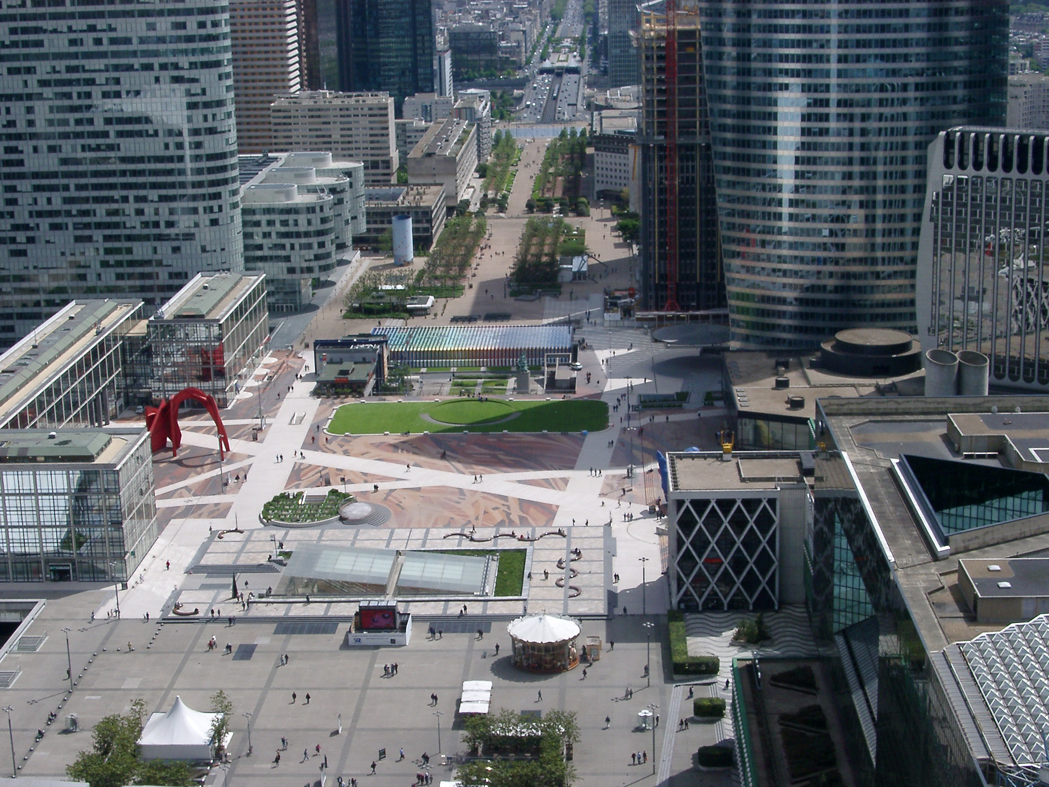 Overview of Central Esplanade in La Defense Business District, Paris, France