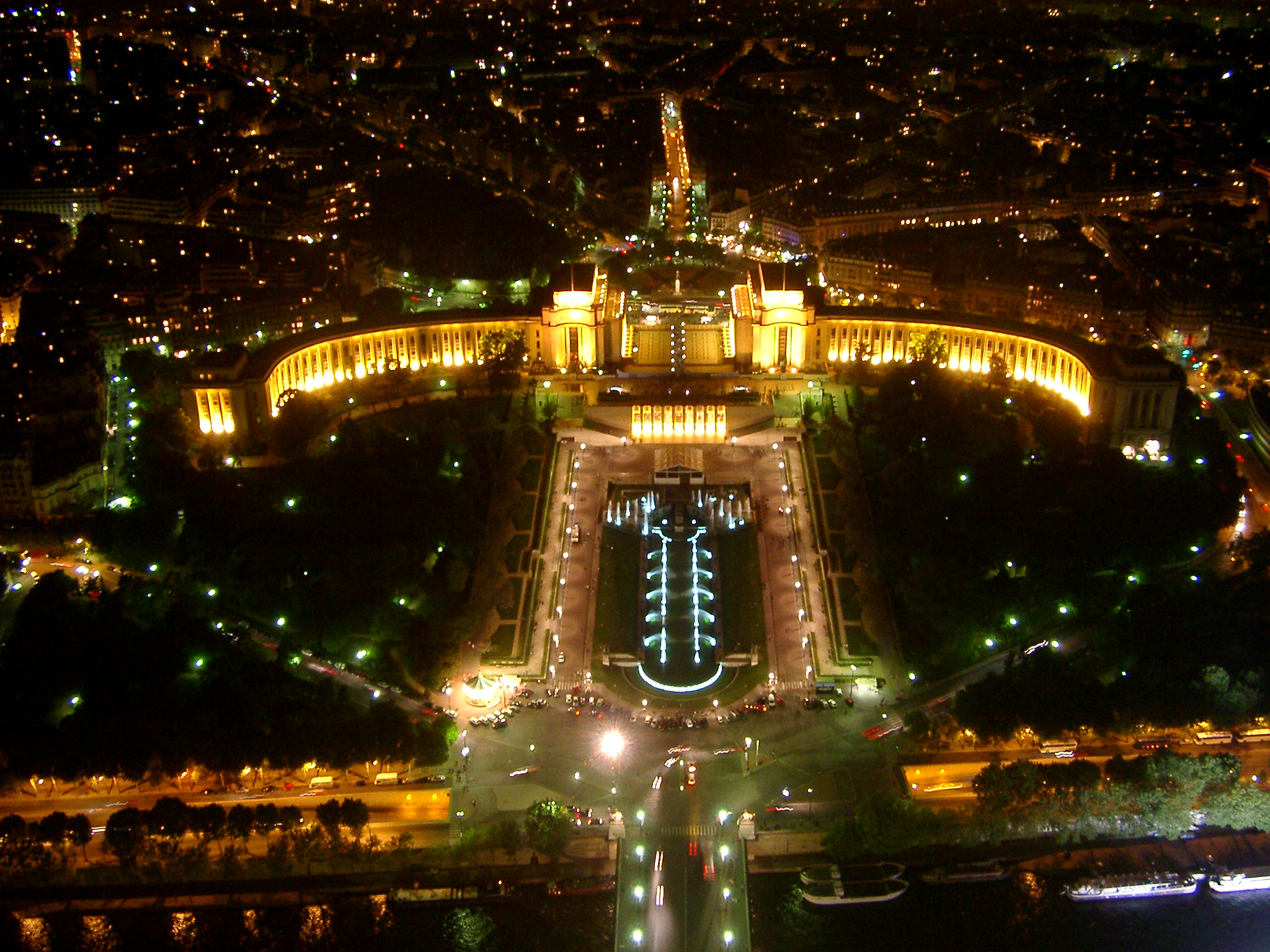 Beautiful City Lights at Paris at Night Time in Aerial View. Captured in Extensive View.
