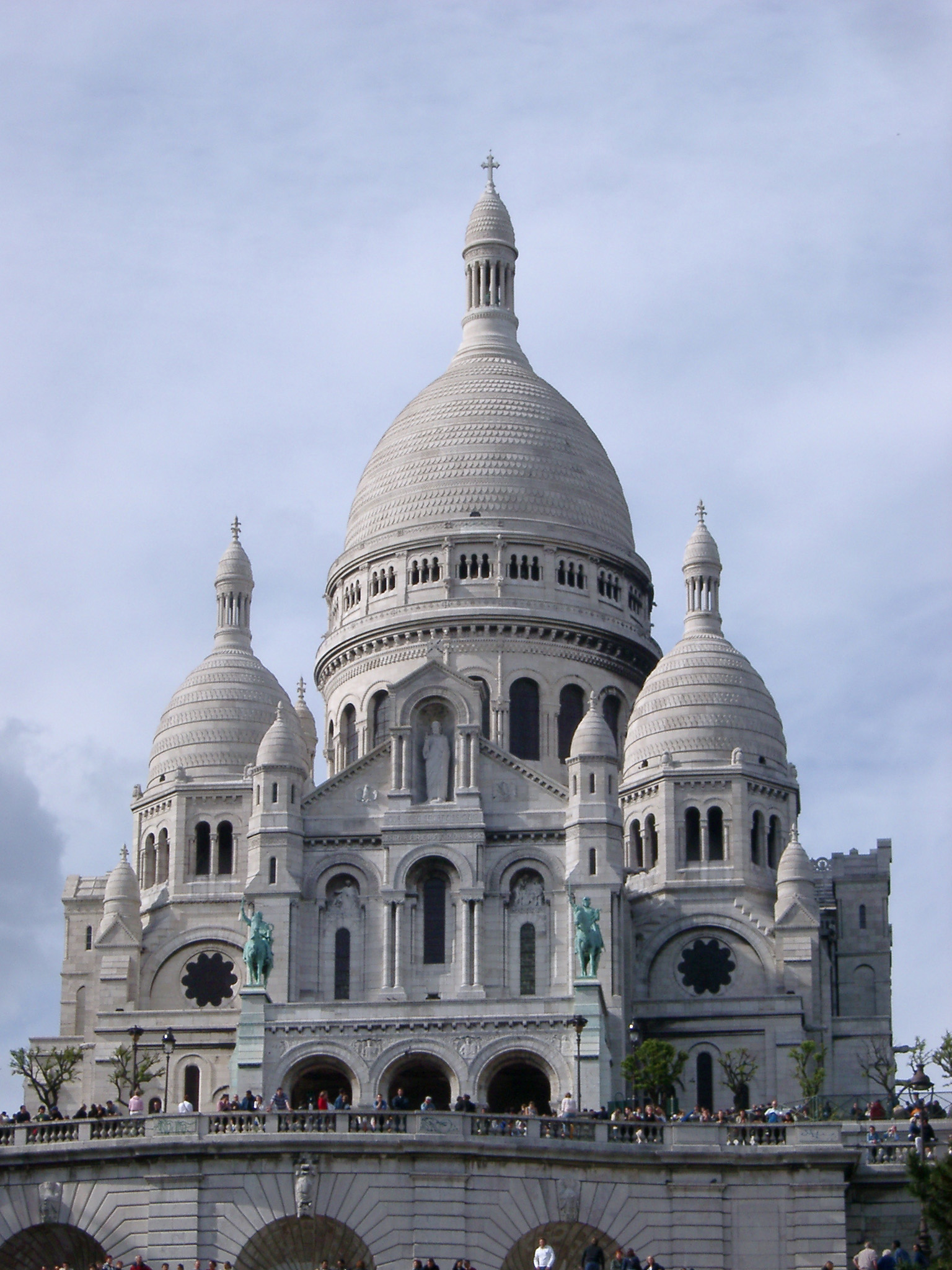 View of the Basilica du Sacre-Couer, or Sacred Heart, an iconic landmark in Paris on the Montmarte dedicated to the heart of Jesus