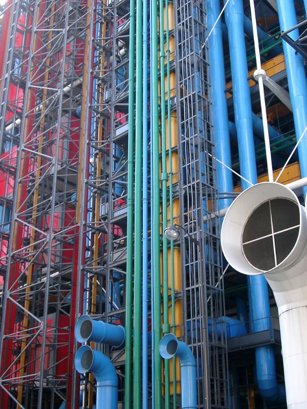 Free stock photo of colored bars and pipes at centre - Centre george pompidou architecture ...