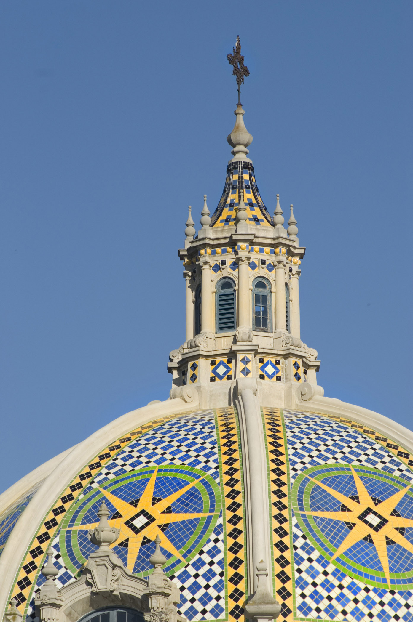 Close up Artistic California Dome with Mosaic Tiles at Balboa Park San Diego. Isolated on Blue Sky.