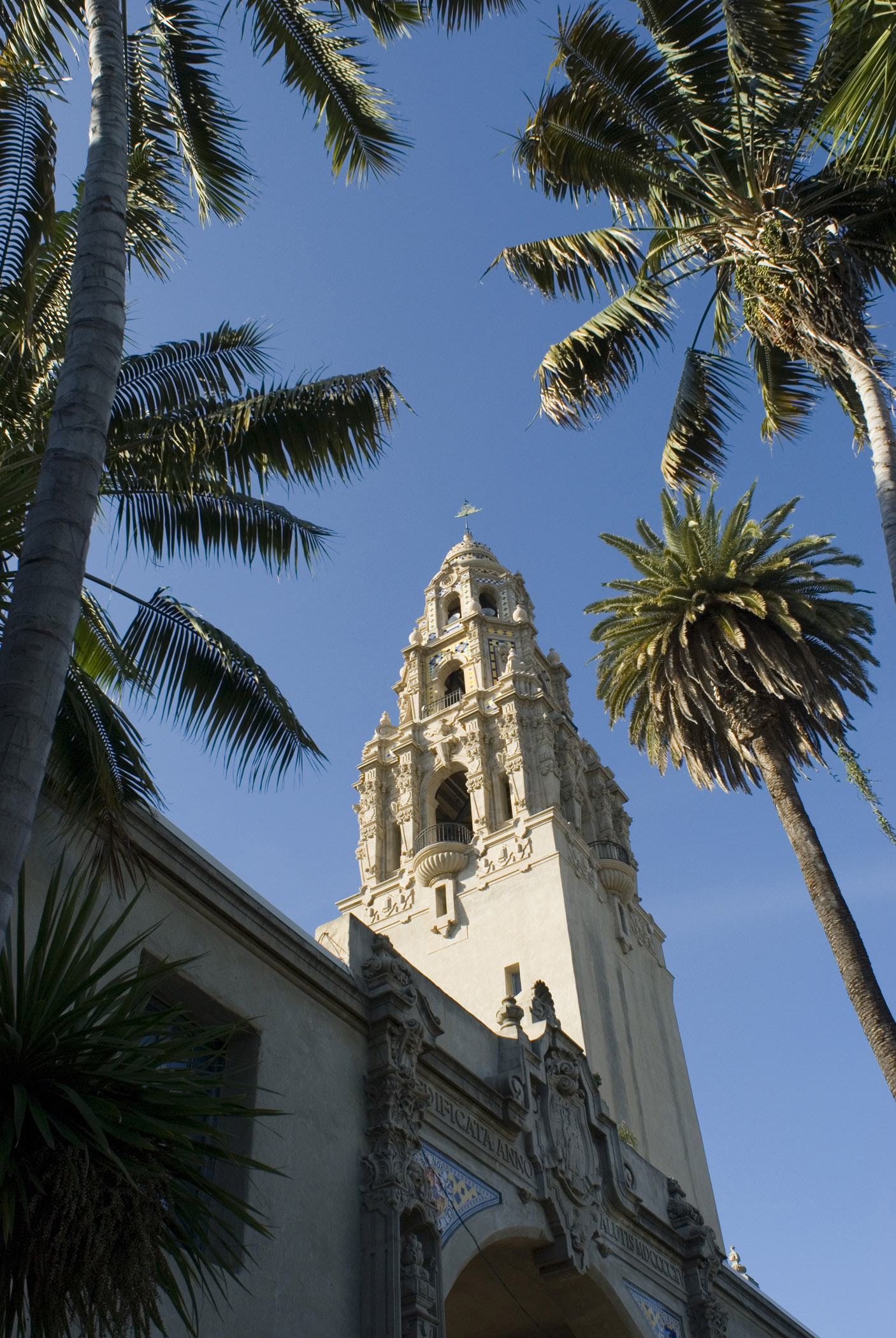 Architectural Tall Building Structure at Balboa Park San Diego. Surrounded by Tall Coconut Trees. Captured from Low Angle Point. Isolated on Light Blue Sky background.