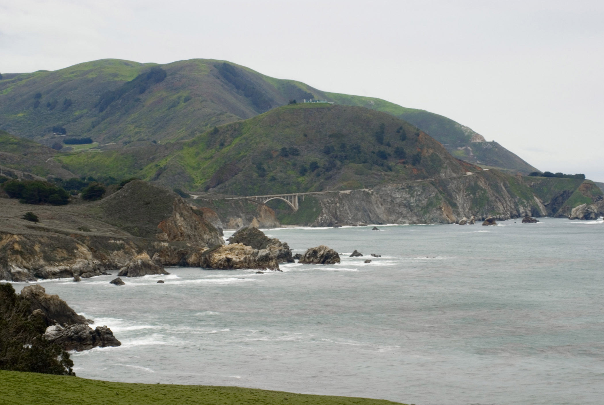Scenic of Rocky Creek Coastline in California, USA