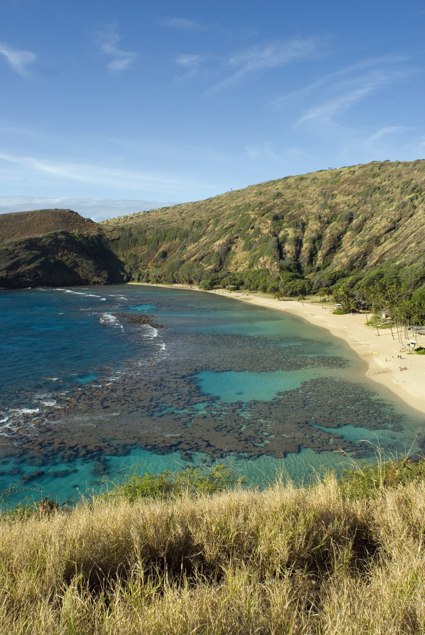 Beautiful Blue Water Hanauma Bay Beach Overview with Grassy Cliffs on Sides. Isolated on Blue Sky Background.