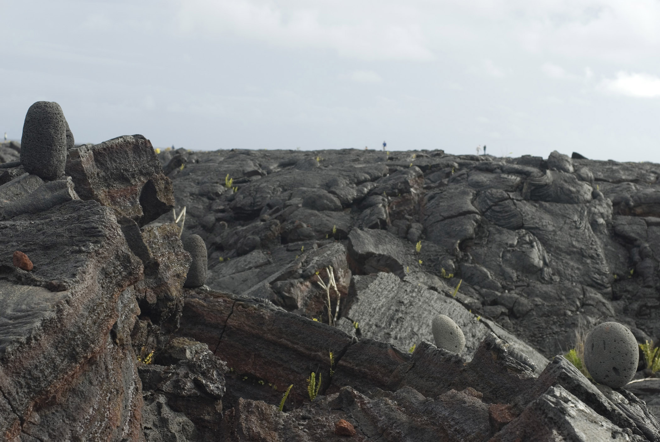 Lava fields on Ohau, Hawaii with solidified igneous volcanic rock stretching into the distance