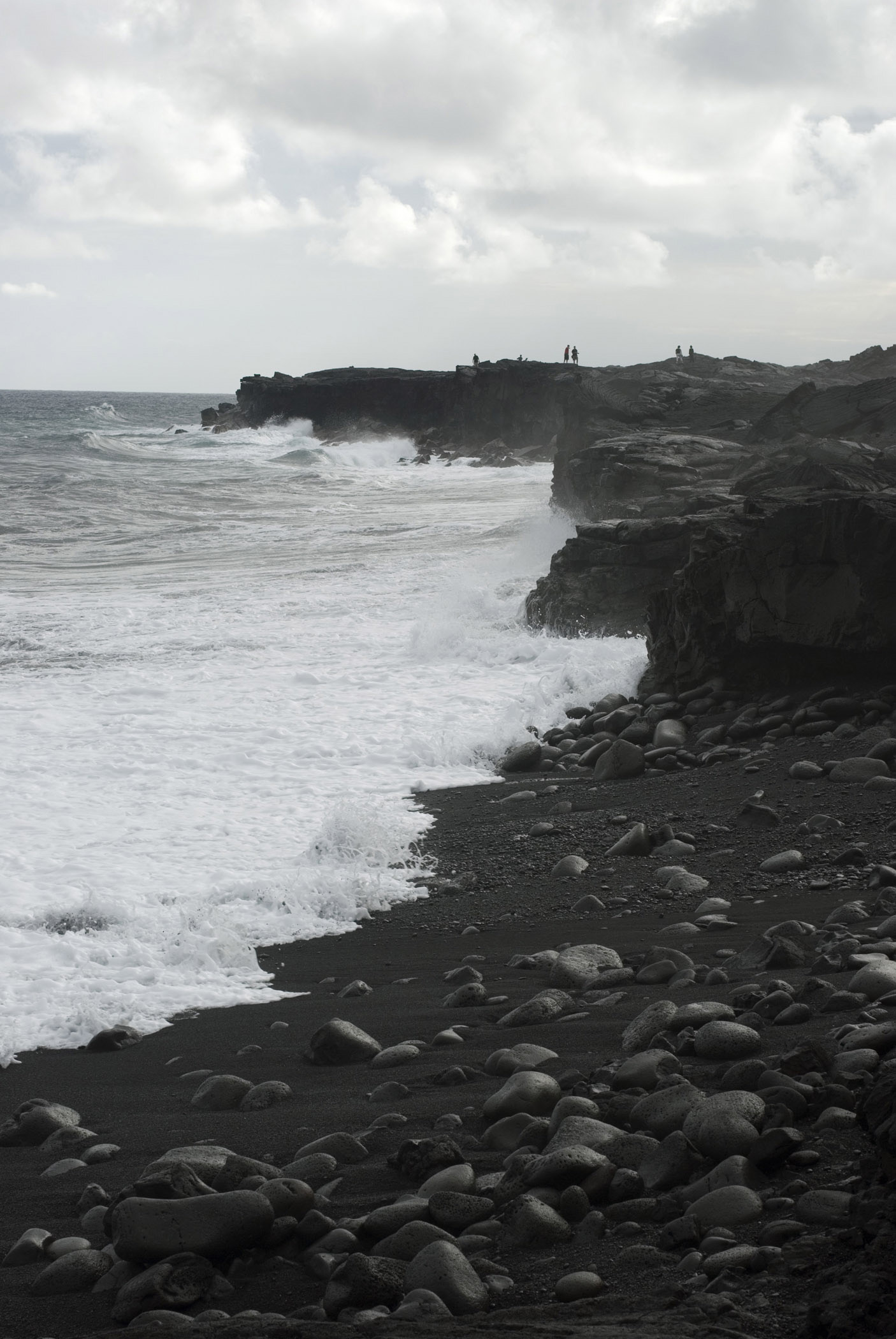 Gray Scale Beautiful Kalapana Beach Seashore at Hawaii