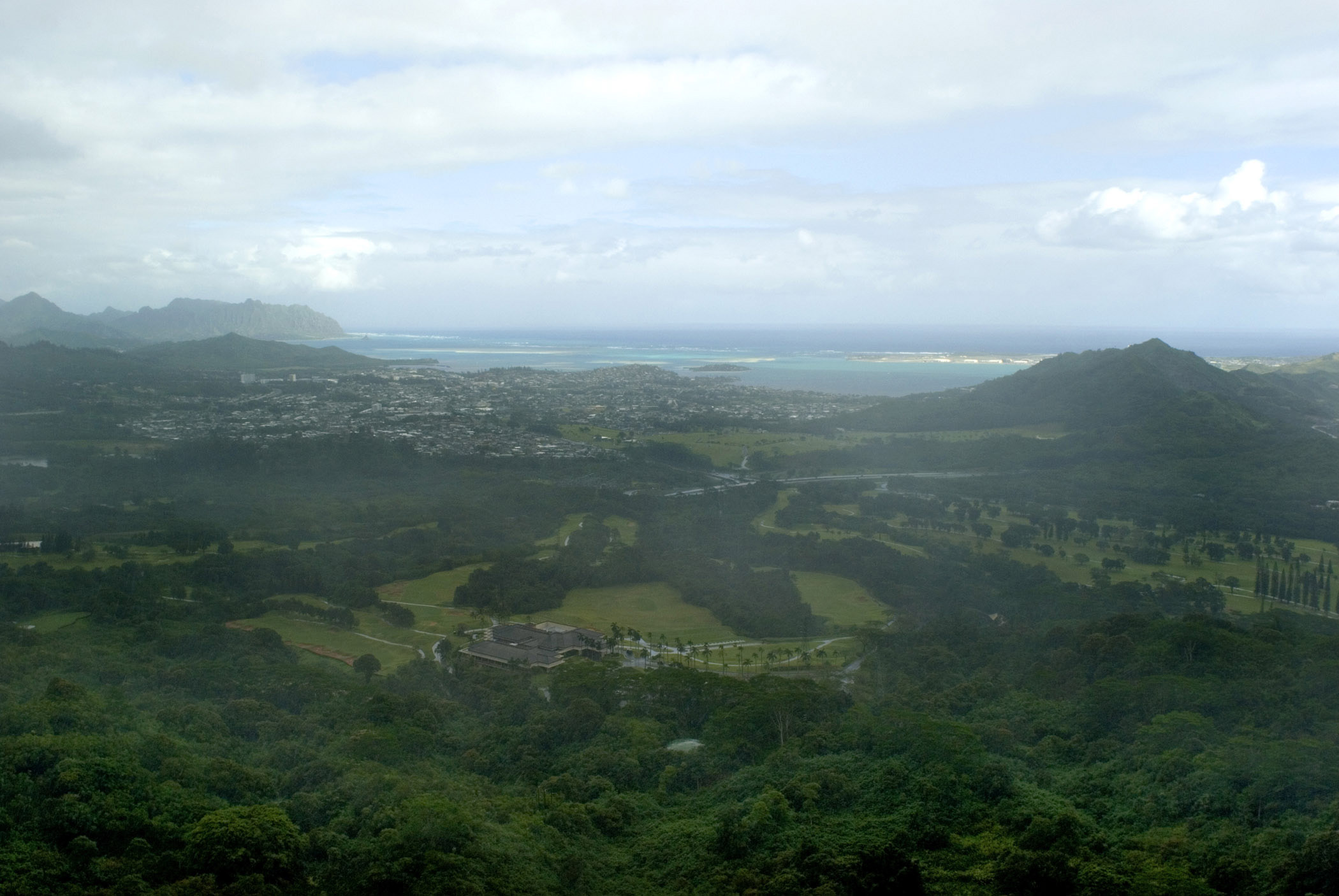 Looking East from Nuuanu Pali Lookout Towards Ocean, Hawaii