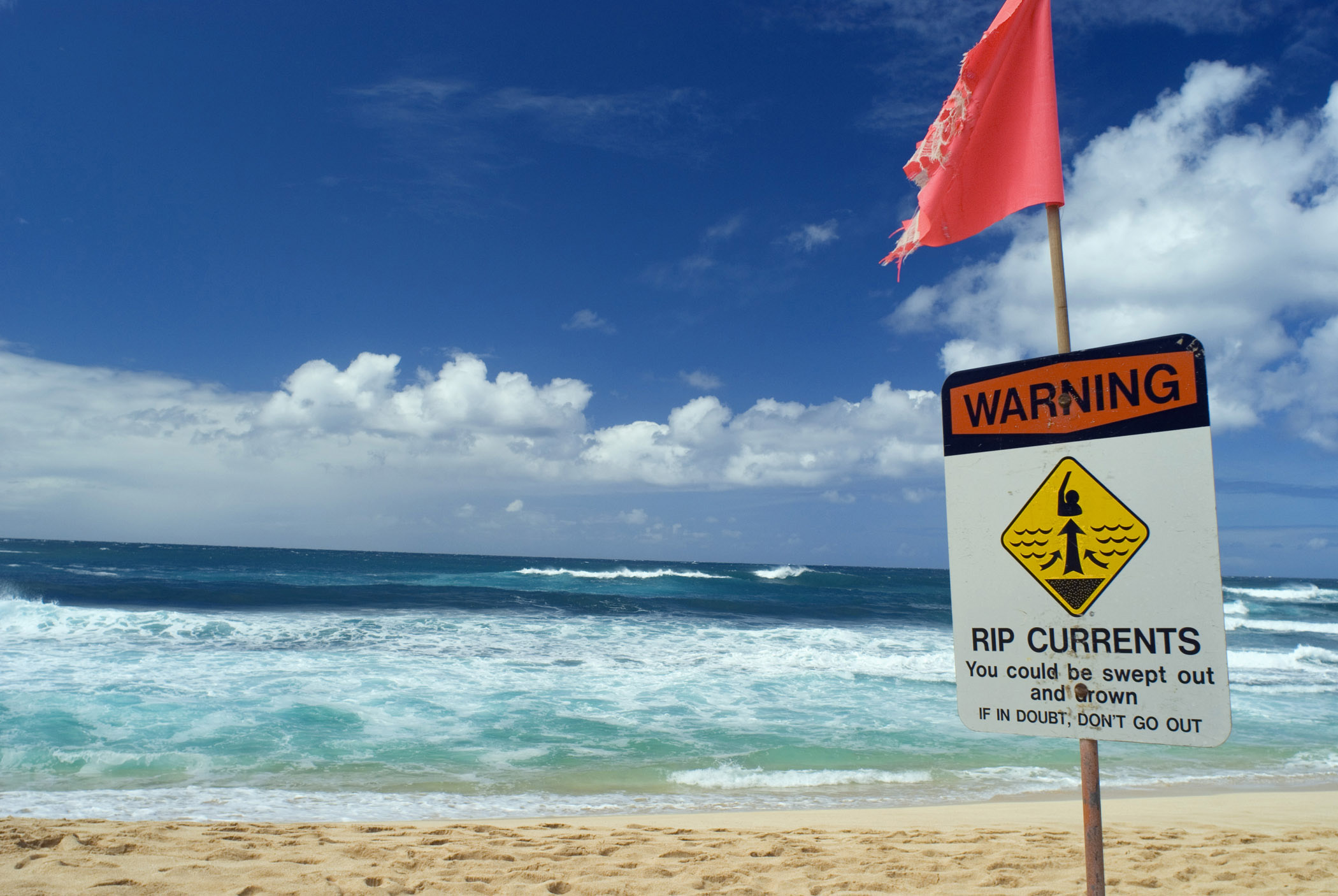 Rip Current warning notice forbidding swimming on a beach or you could be swept out to sea and drown, with copyspace over a tropical ocean and golden sand