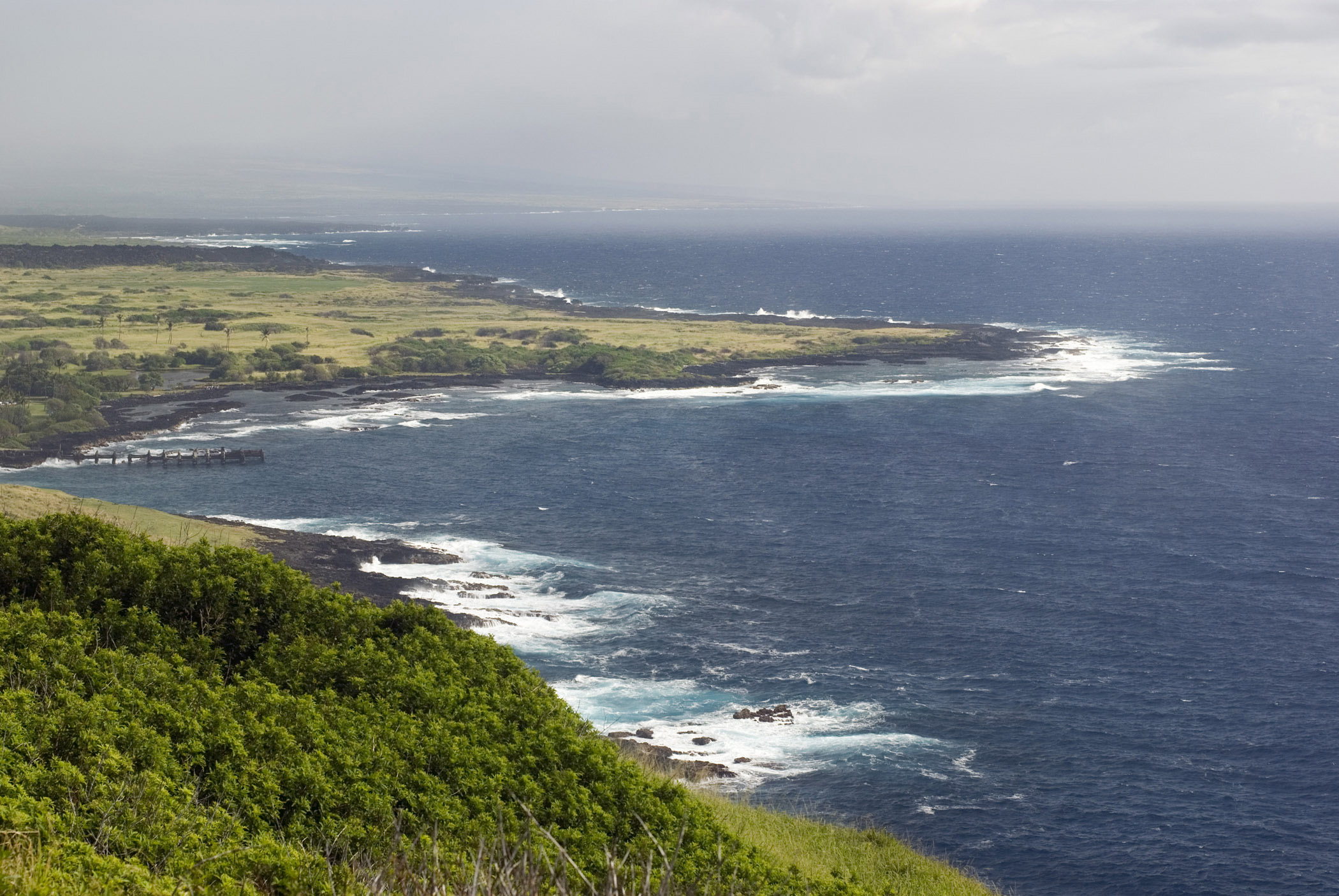 Scenic view along the lush green Big Island coastline, Hawaii, USA, a popular tourist destination
