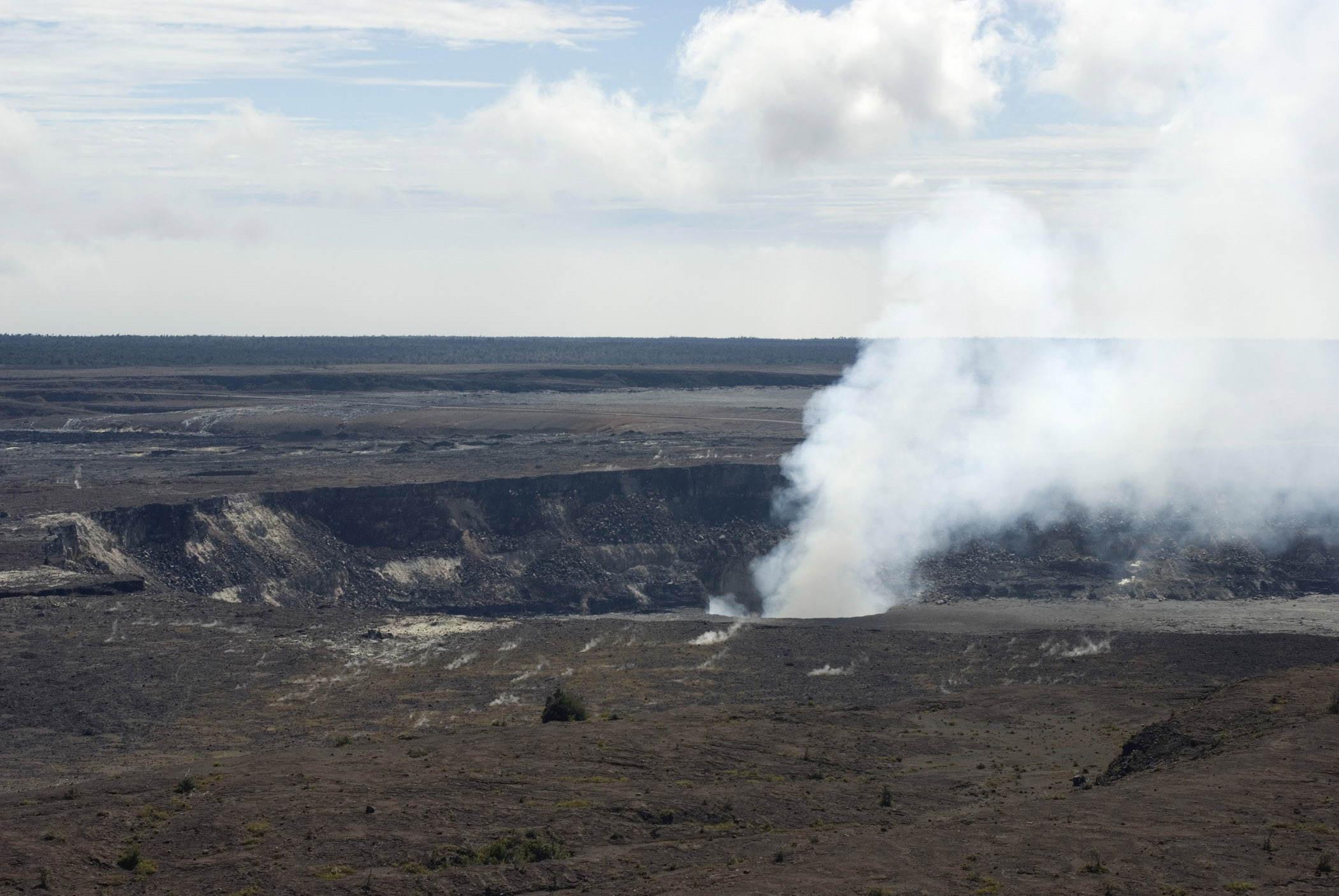 Smokeing volcano at the Volcanoes National Park Hawaii big island