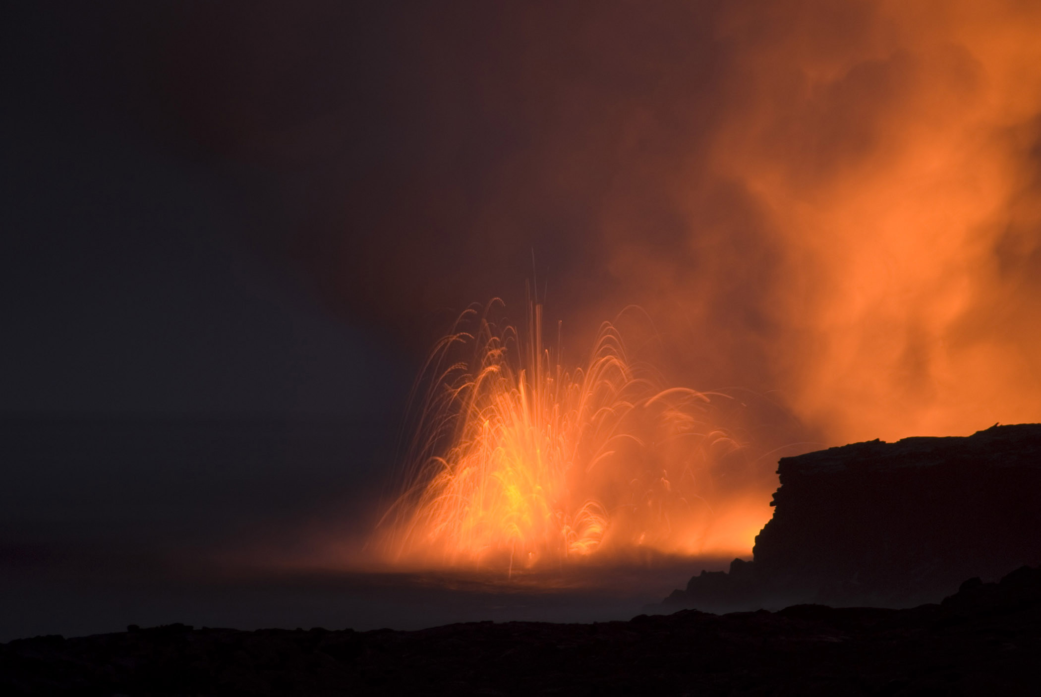 Red Hot Volcanic Lava Captured at Night Time