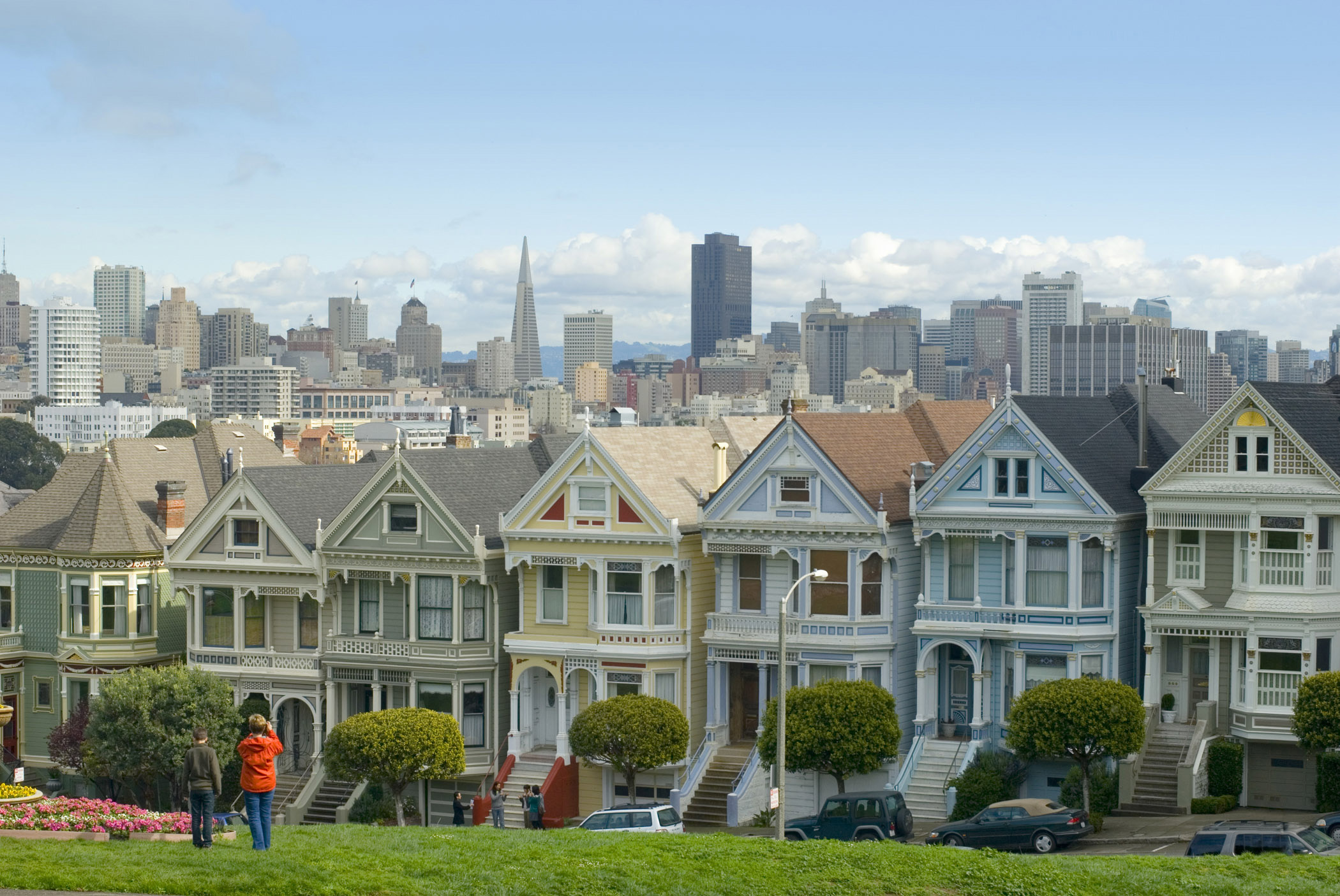 Historic Architectural Residences and Grassy Park At Alamo Square San Francisco