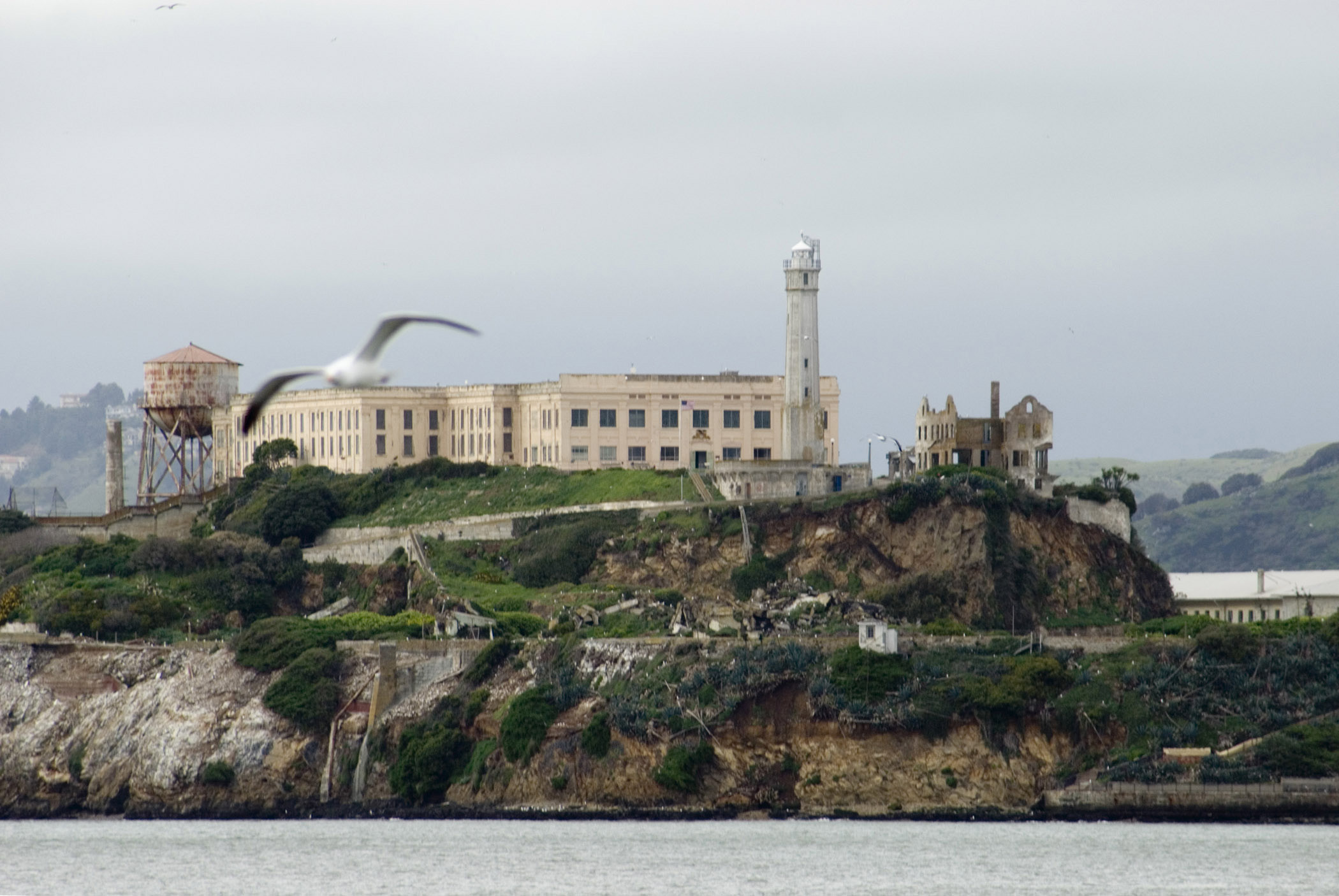 View of the island and impenetrable prison on Alcatraz Island in San Francisco bay, now a popular tourist destination