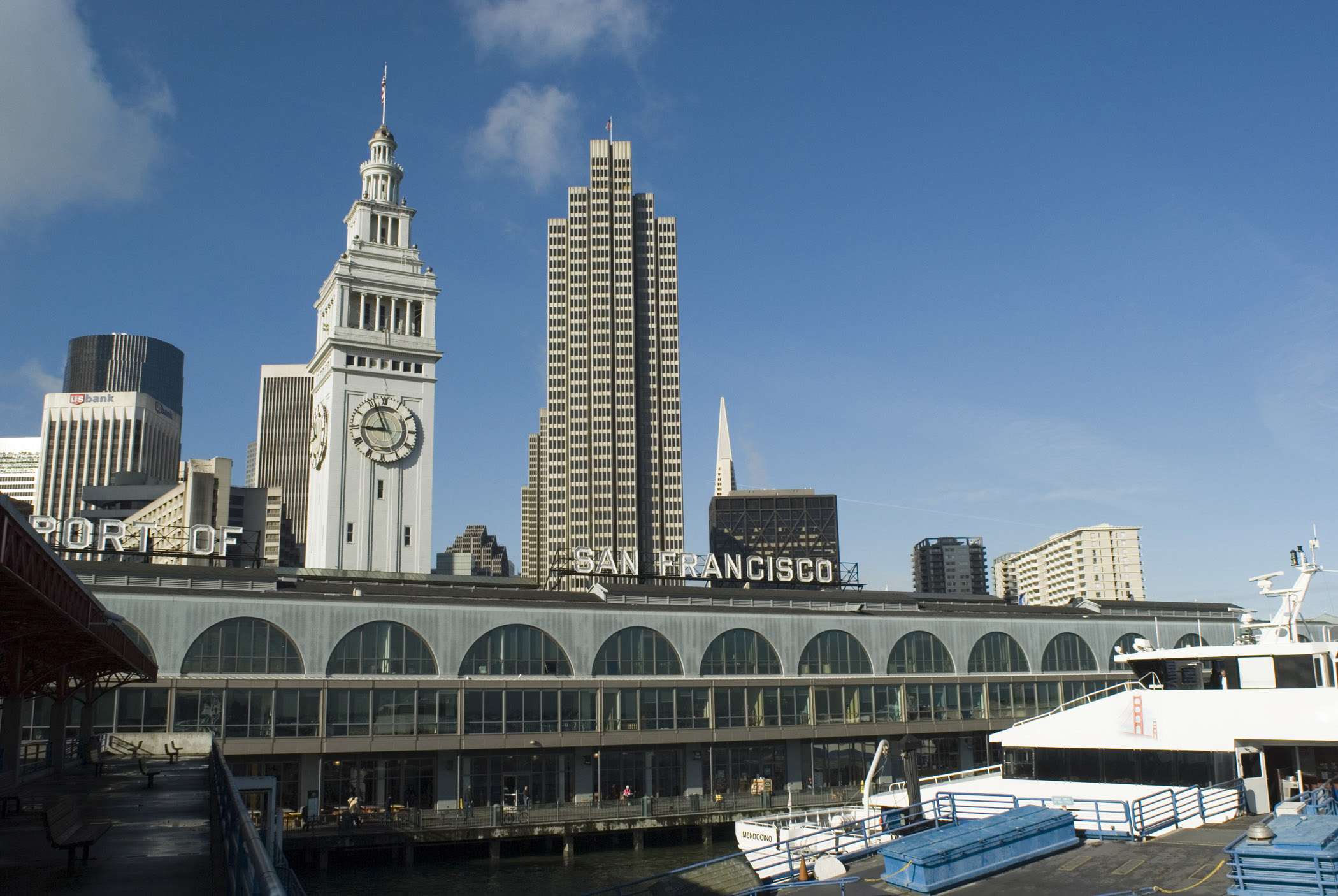 Famous Old Vintage Embarcadero Building in San Francisco, USA. Isolated on Light Blue Sky Background.