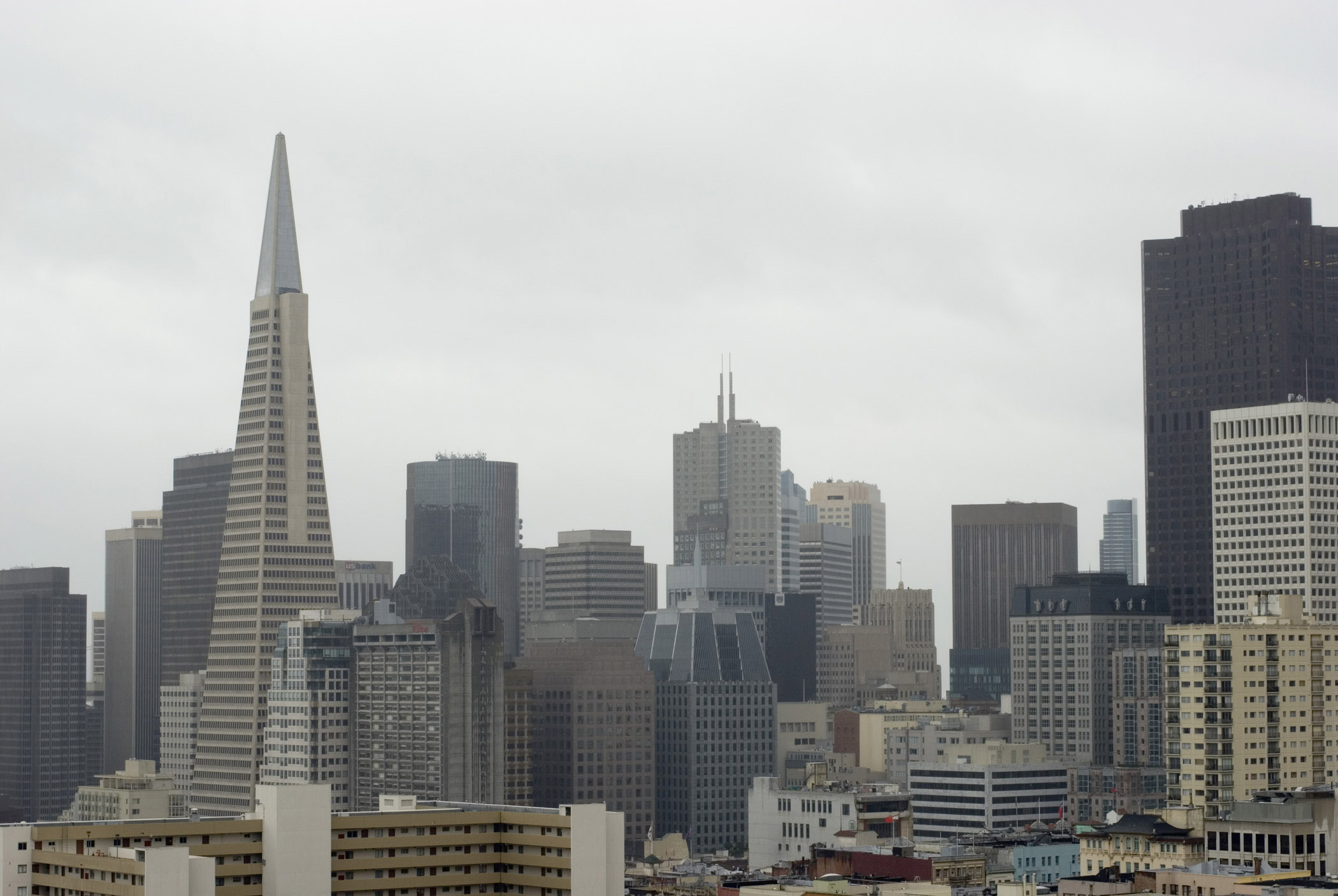 View of downtown San Francisco on a rainy day with the skyscrapers of the CBD and Transamerica Pyramid on the skyline