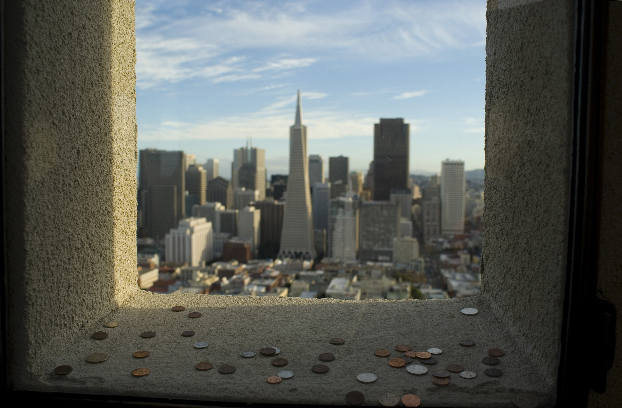 Coit Tower Coins thrown for good luck through the window overlooking the central CBD of San Francisco