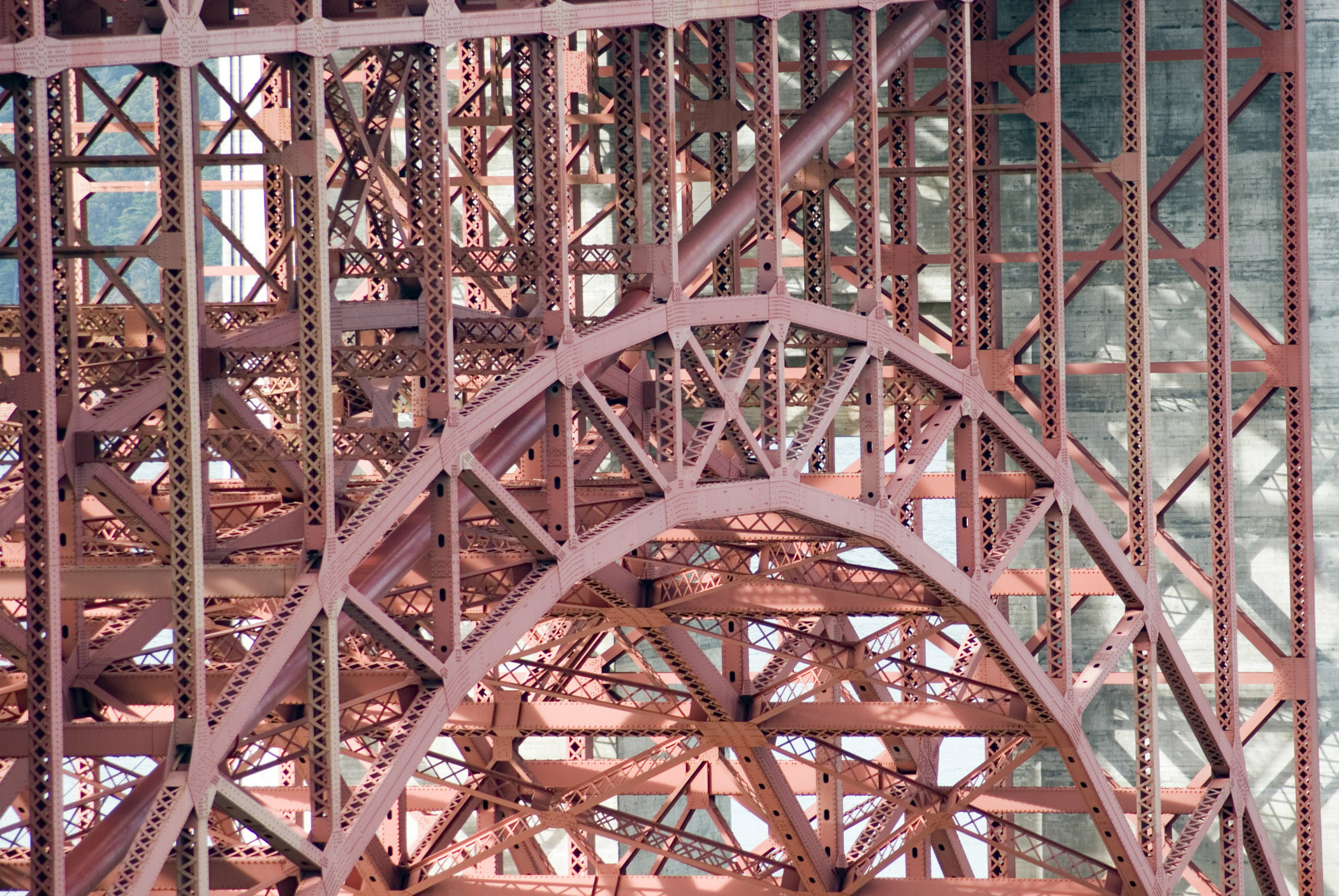 Detail of an arch on the golden gate bridge showing the metal lattice
