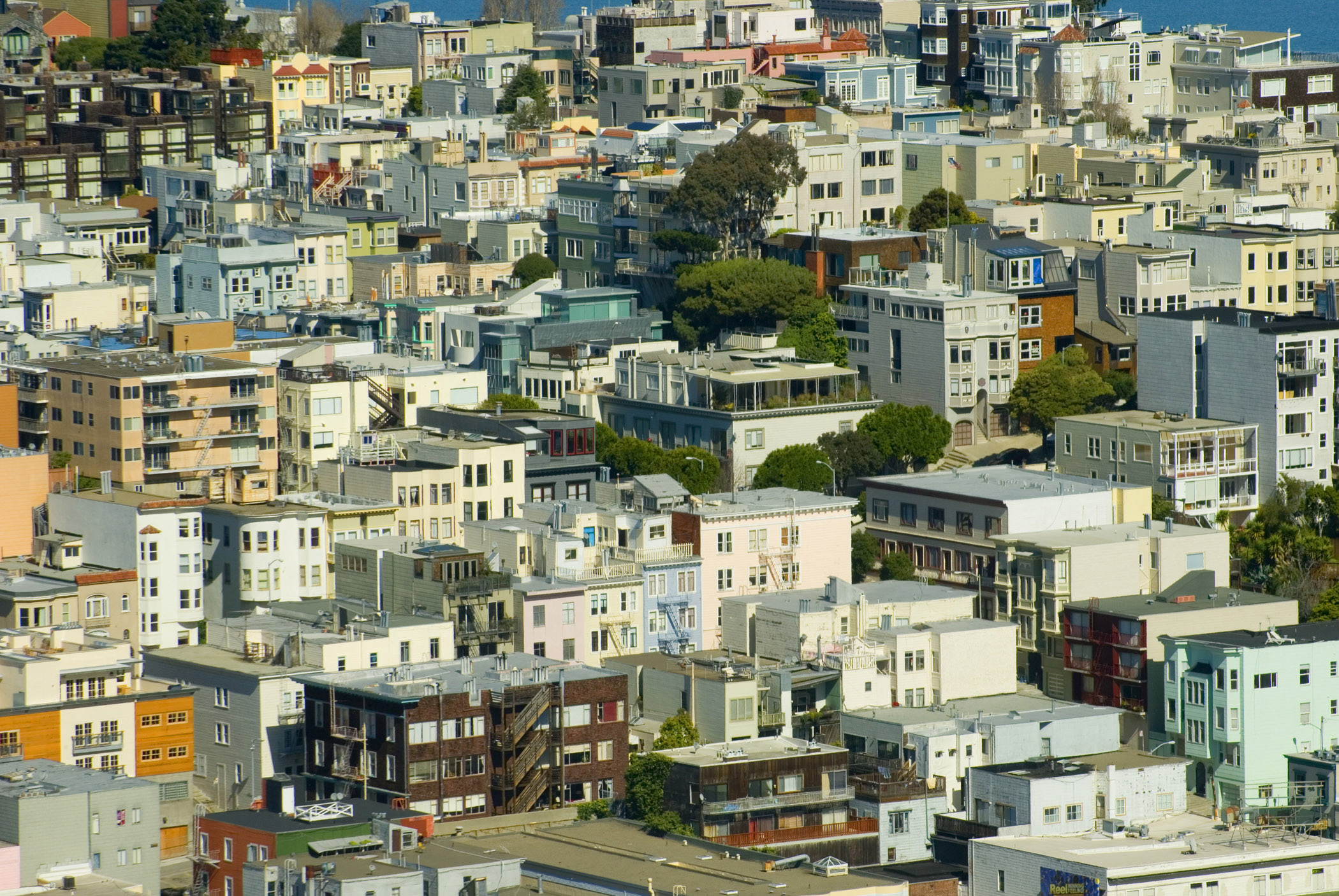 Various City Building Rooftops in San Francisco. Captured in Aerial Extensive View.