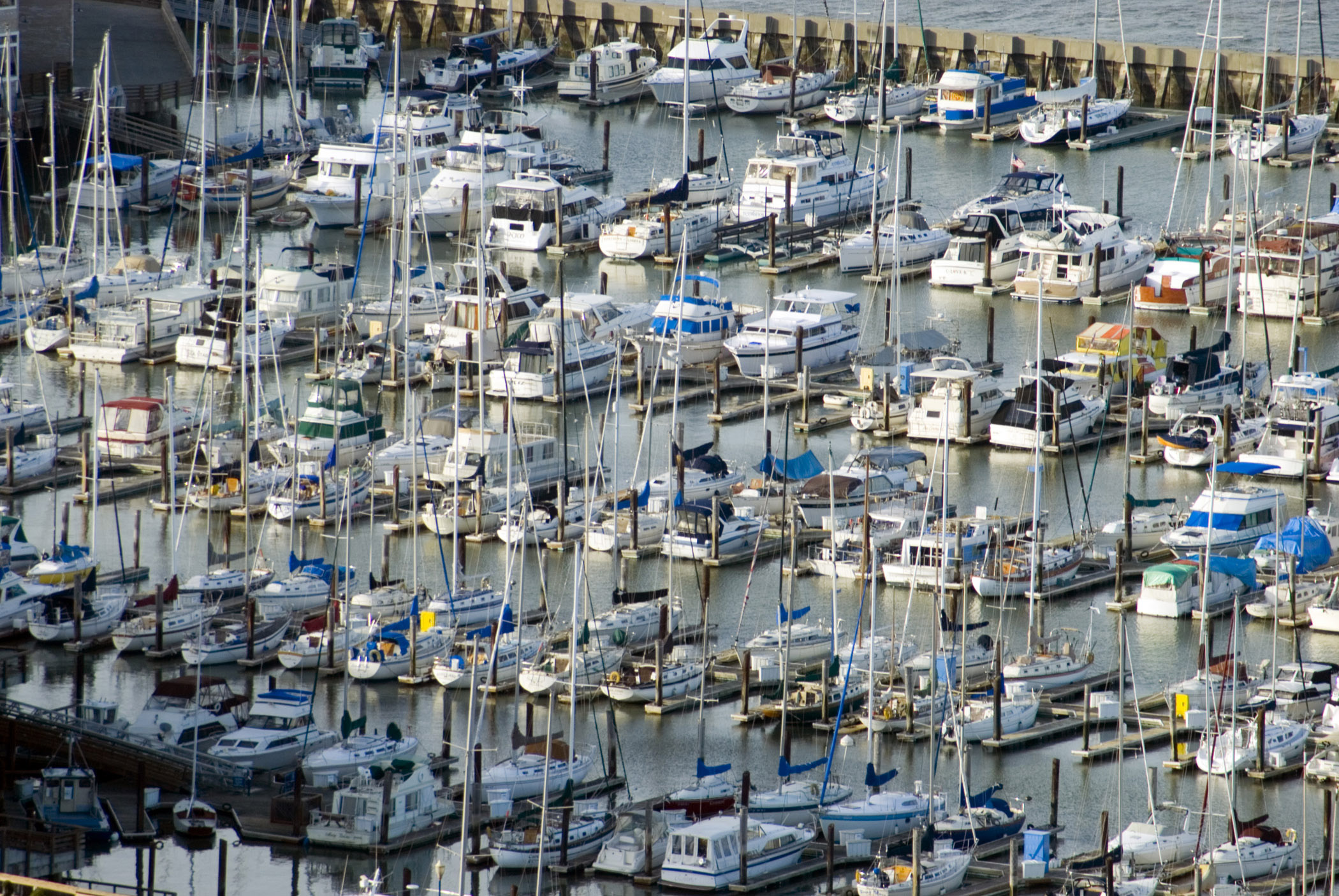 Aerial view of the San Francisco marina with rows of moored pleasure boats and yachts on sheltered water